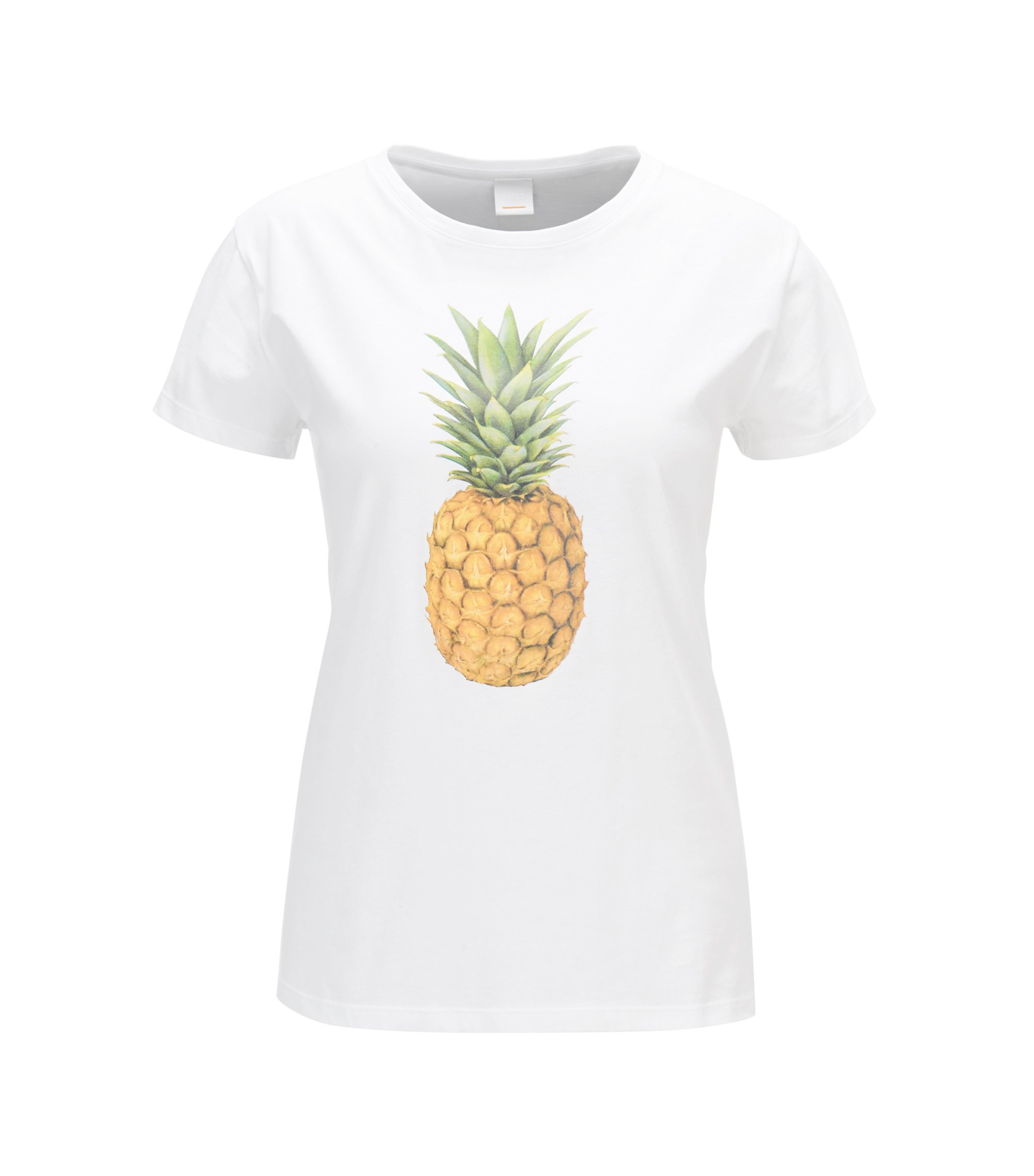 Pineapple-print cotton-jersey T-shirt, White