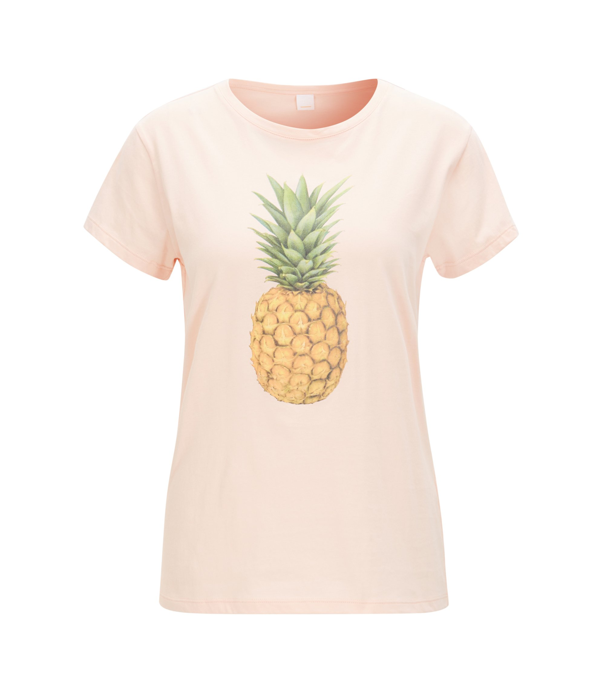 Pineapple-print cotton-jersey T-shirt, light pink