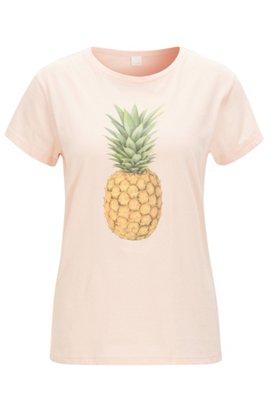 Pineapple-print cotton-jersey T-shirt, light pink