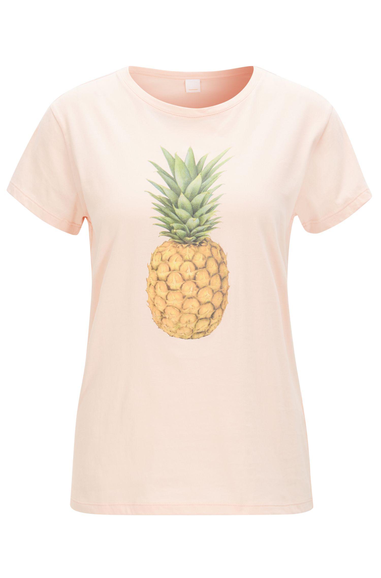 T-shirt van katoenen jersey met ananasprint