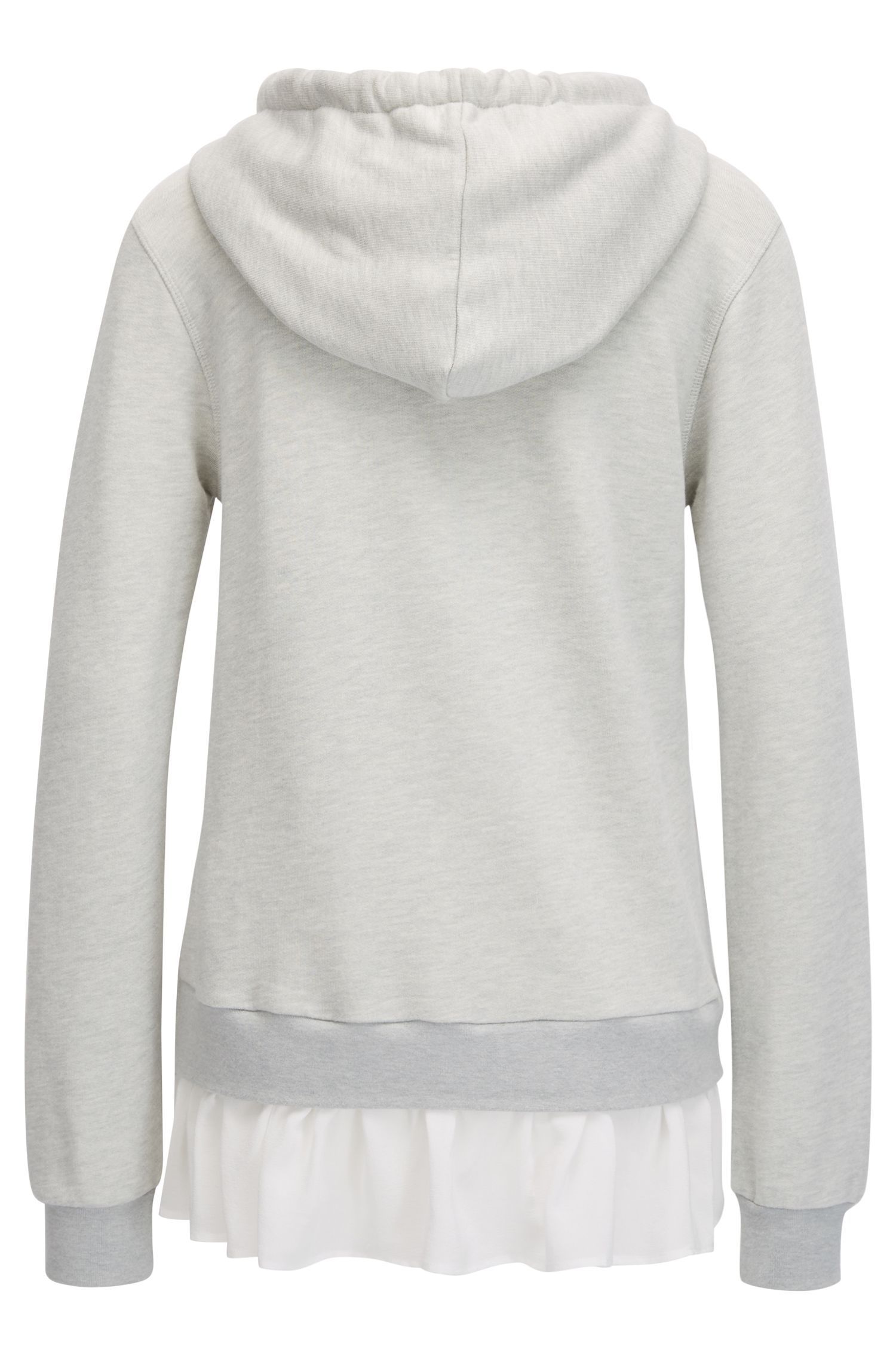 Hooded cotton-blend sweater with silk trim