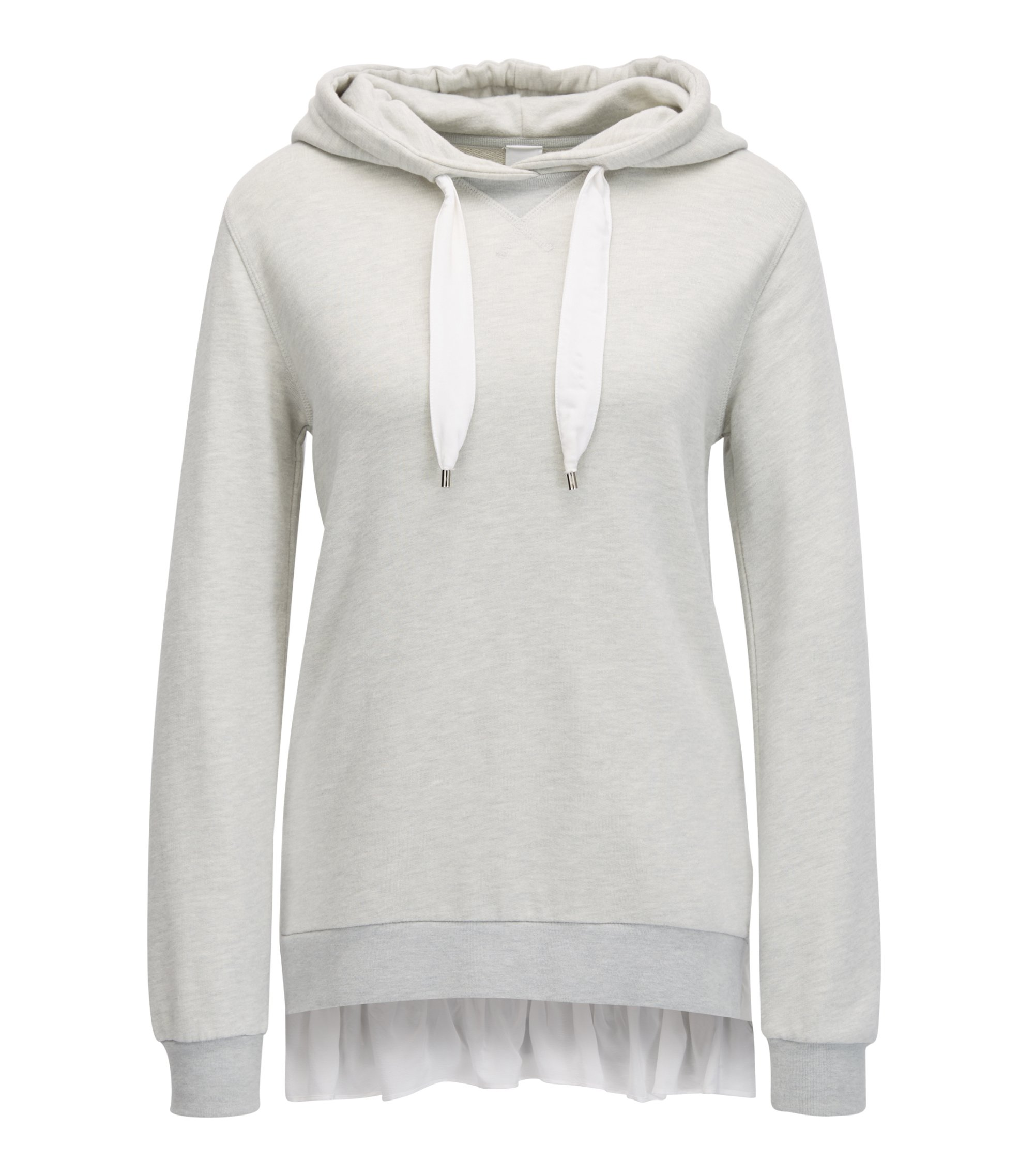 Hooded cotton-blend sweater with silk trim, Silver