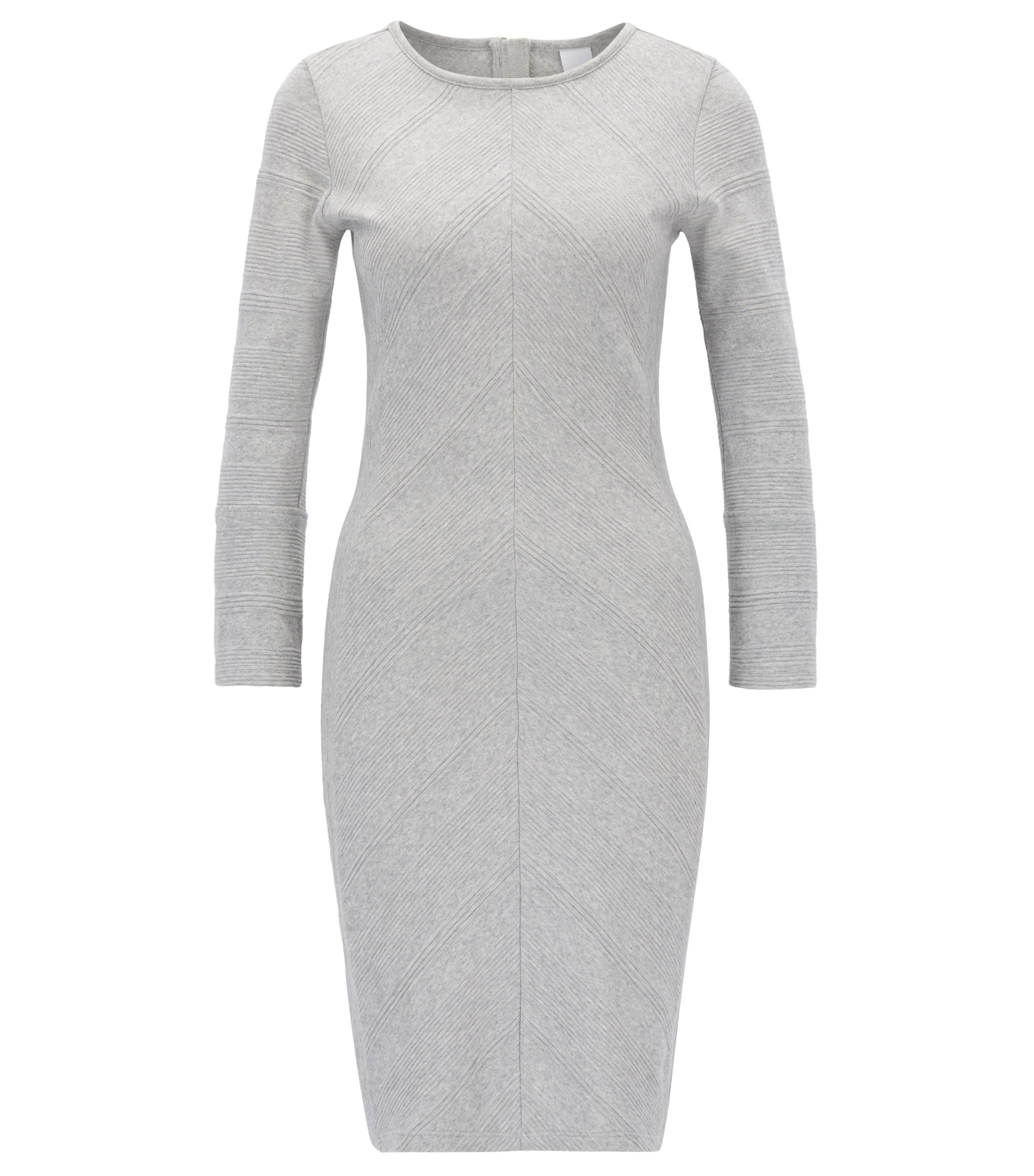 Cotton bodycon dress with 3D chevron stripes  , Light Grey