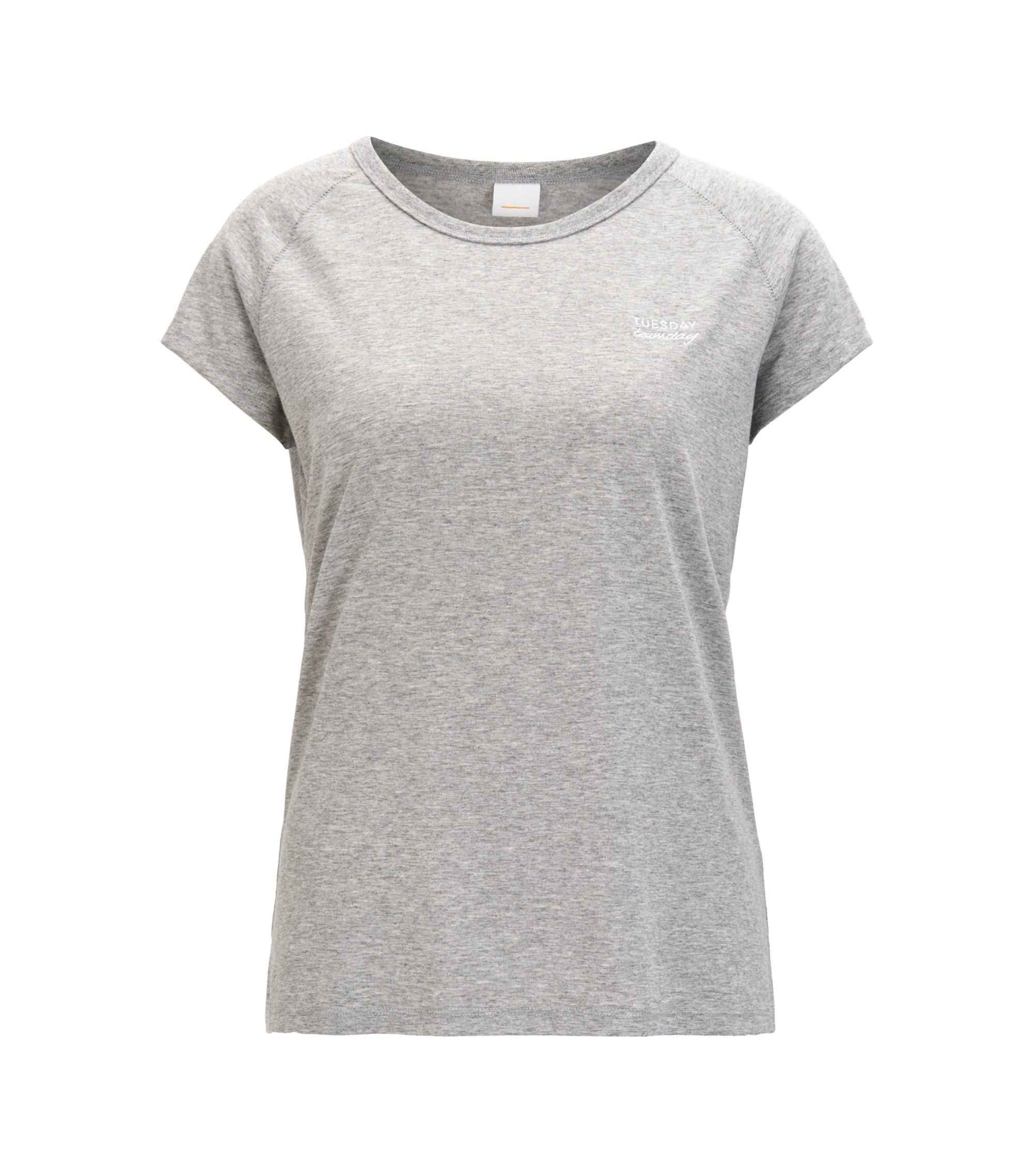Slogan-detail mélange T-shirt with raglan sleeves, Light Grey