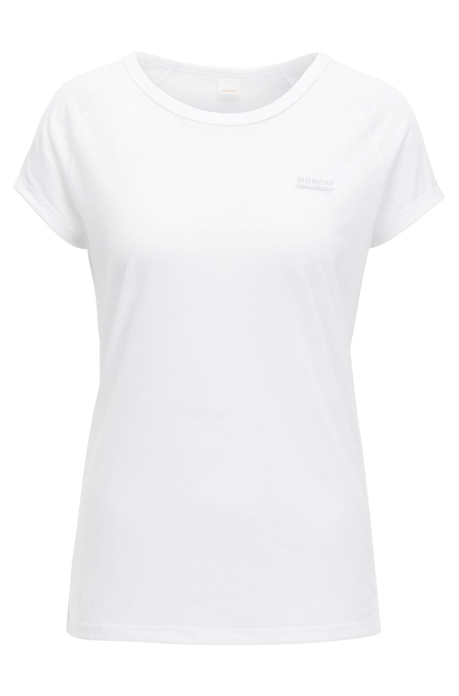 Slogan-detail mélange T-shirt with raglan sleeves