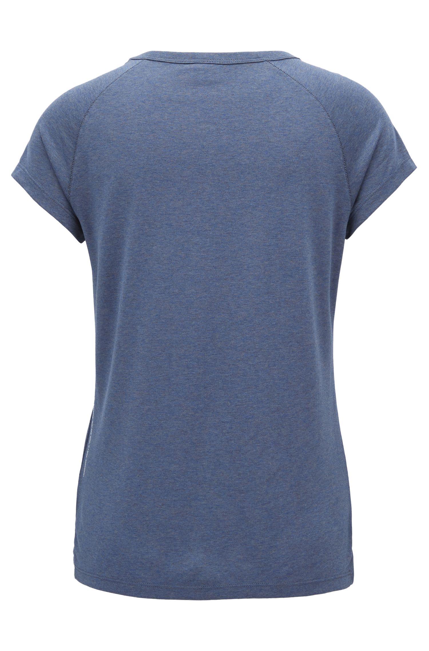 T-shirt mélange con slogan e maniche raglan