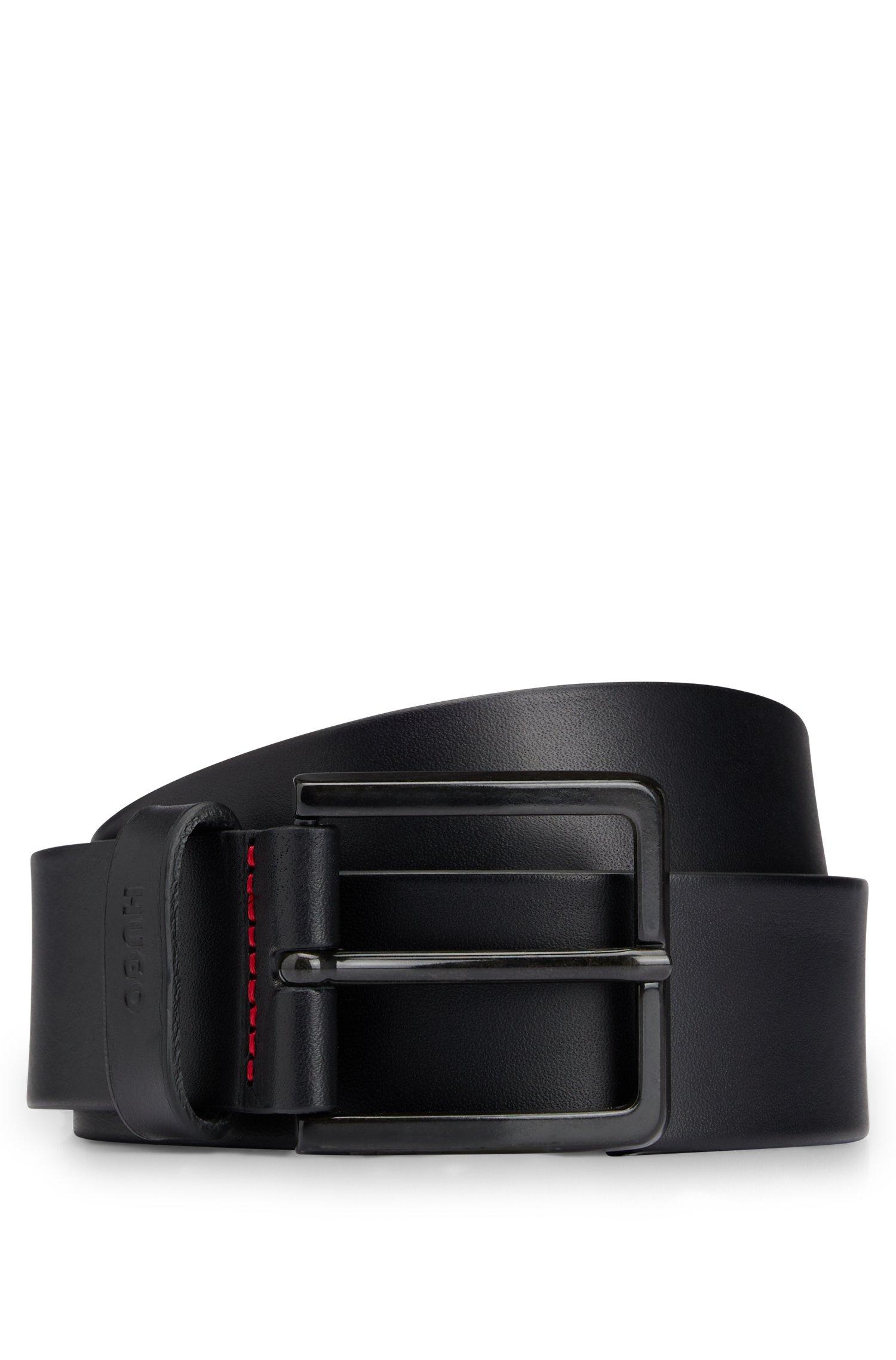 Leather belt with matte gunmetal hardware, Black