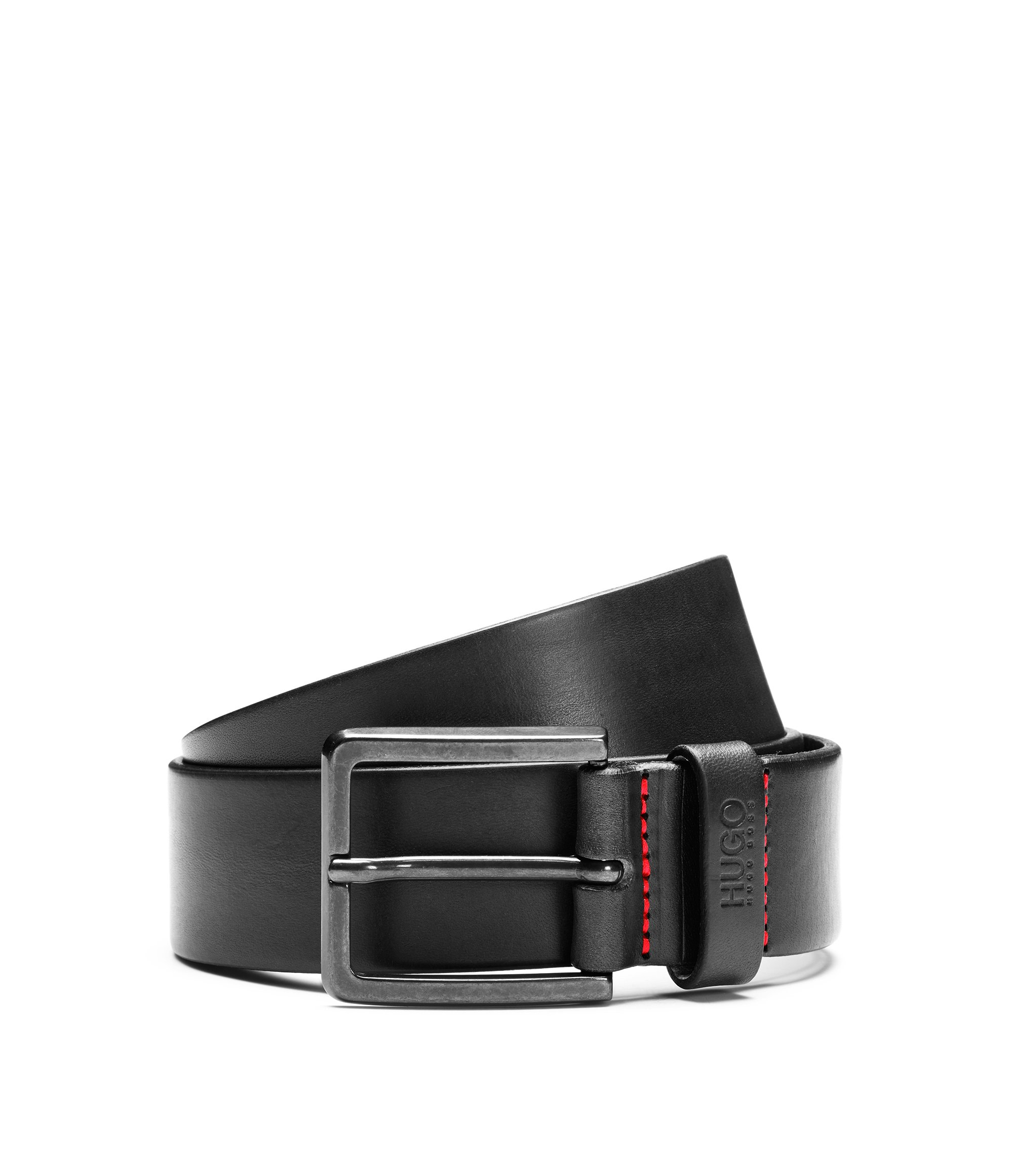 Leather belt with matte gunmetal hardware, Black