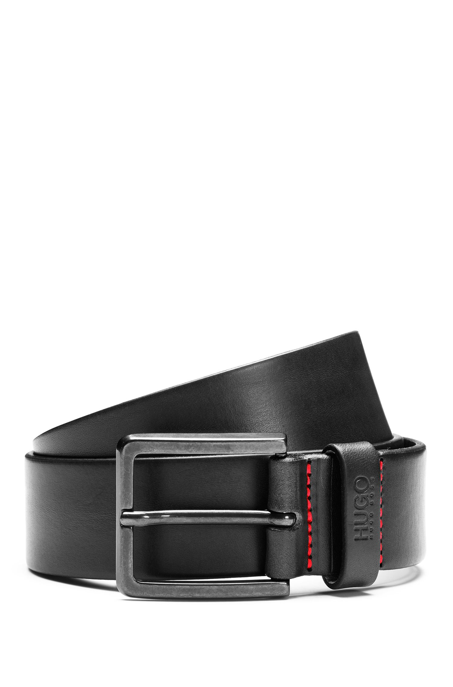 Cintura in pelle con dettagli in metallo color canna di fucile opaco
