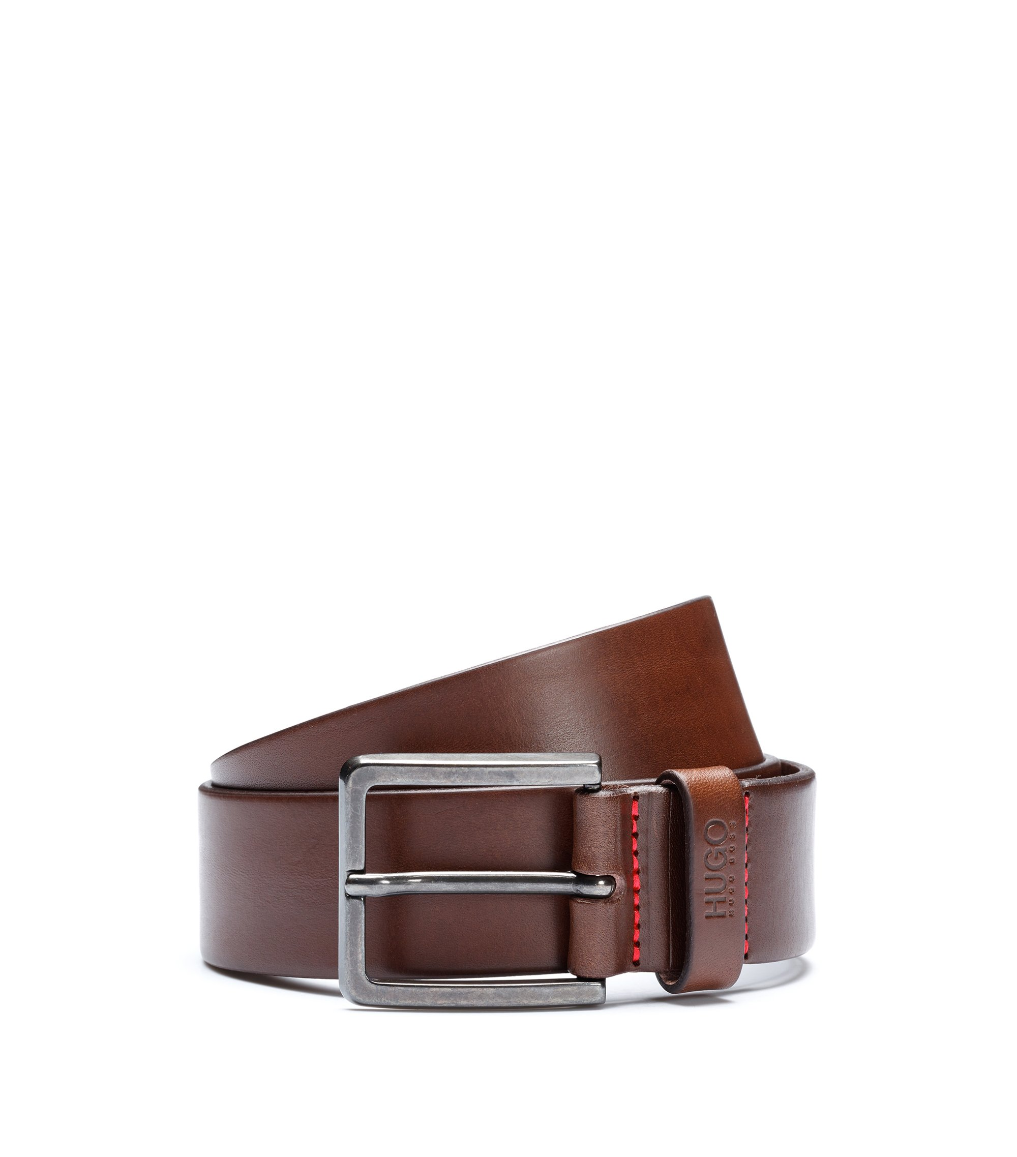 Leather belt with matte gunmetal hardware, Dark Brown