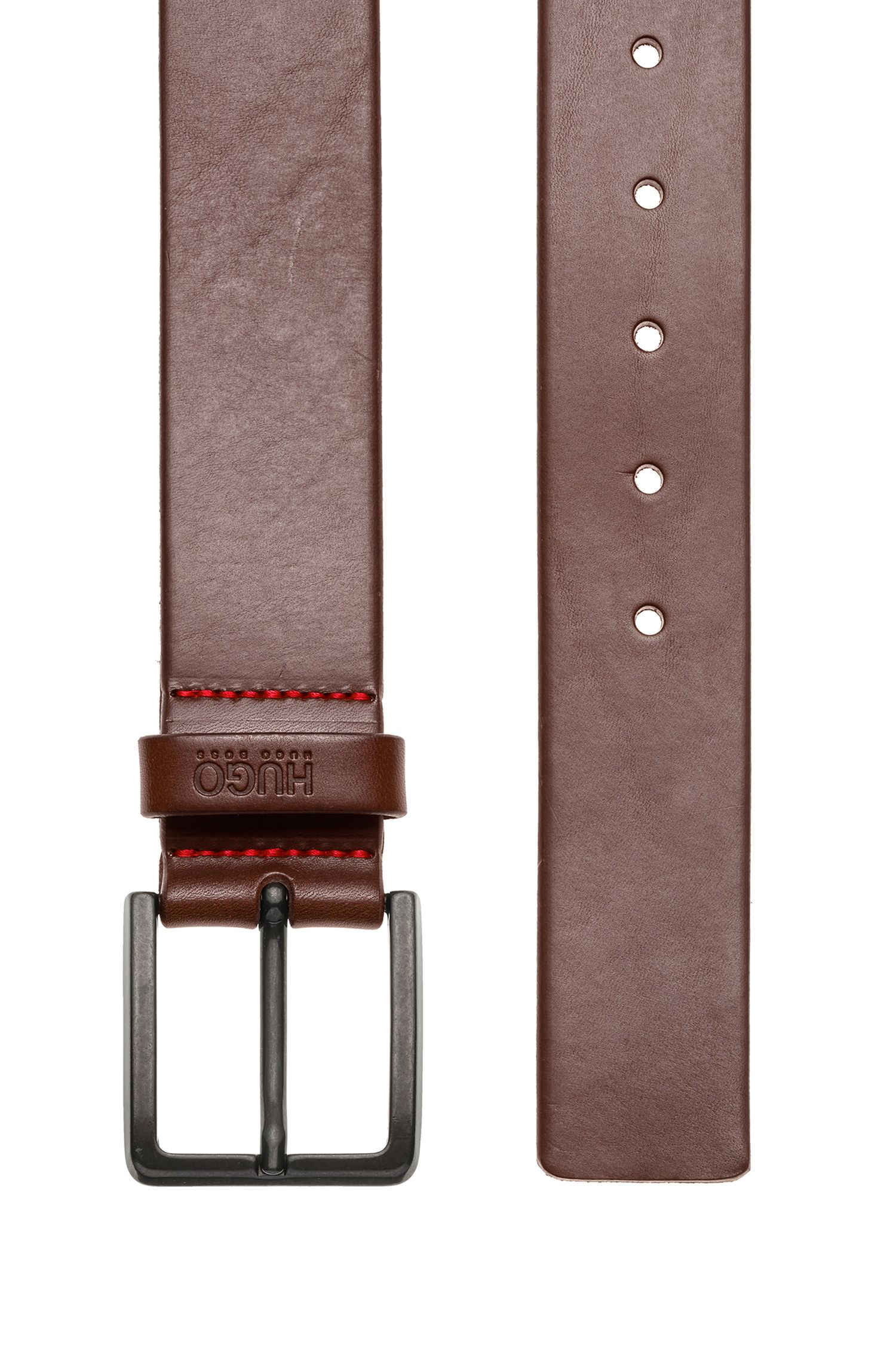 Leather belt with matte gunmetal hardware