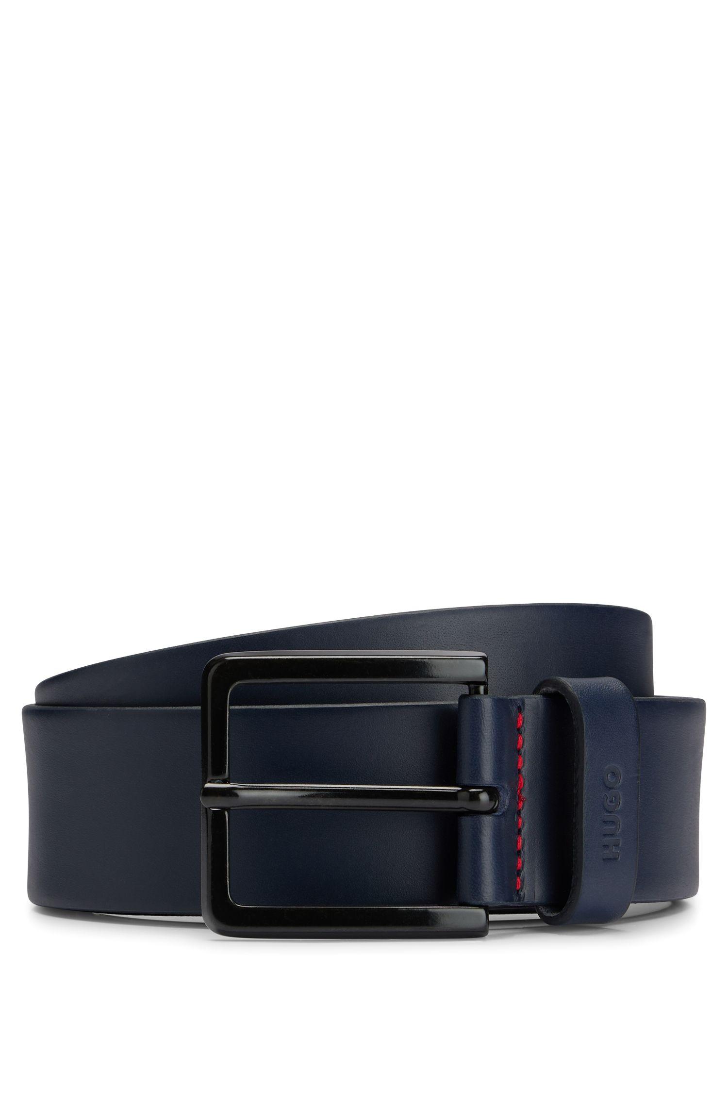Leather belt with matte gunmetal hardware, Dark Blue