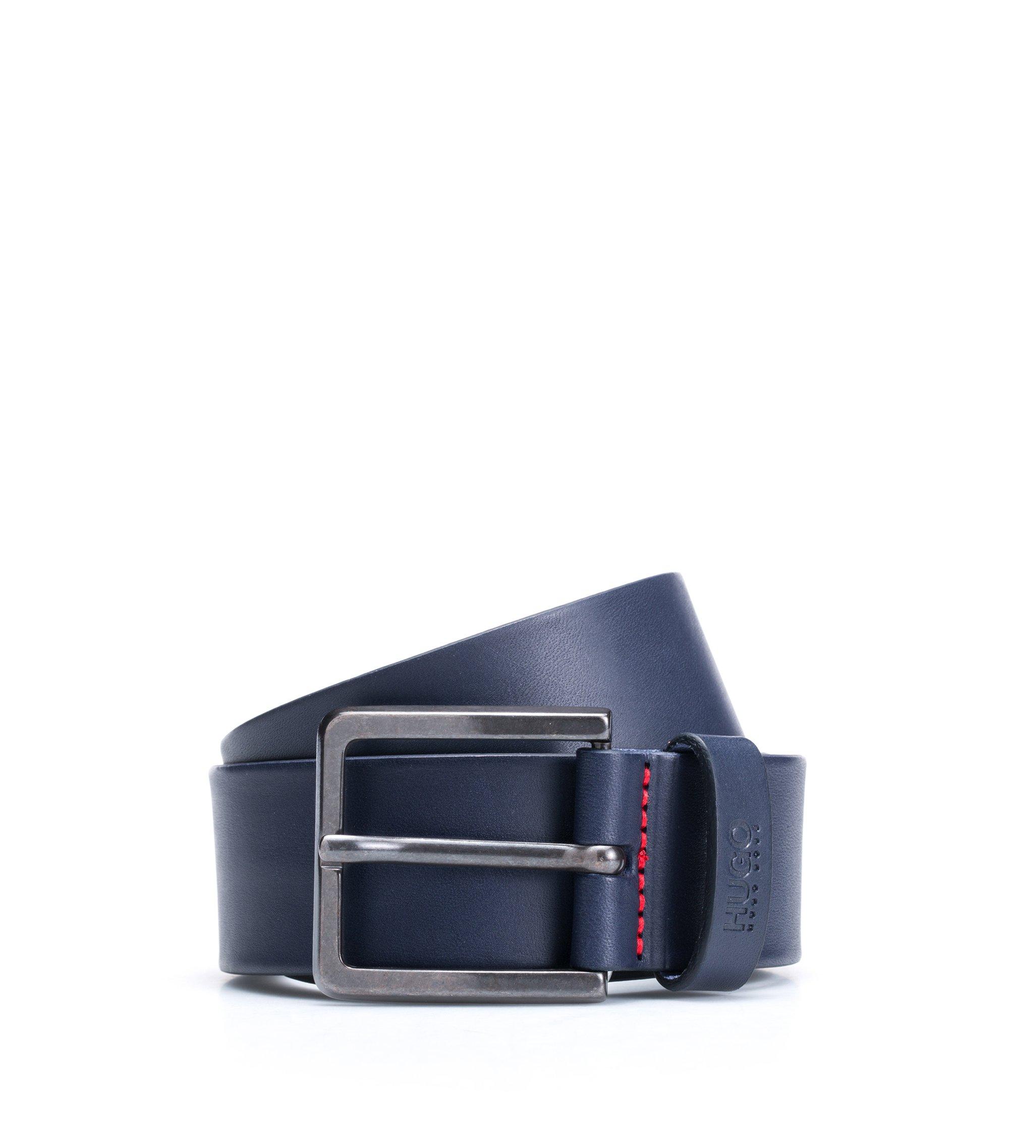 Ceinture en cuir à garnitures en métal couleur acier mat, Bleu foncé