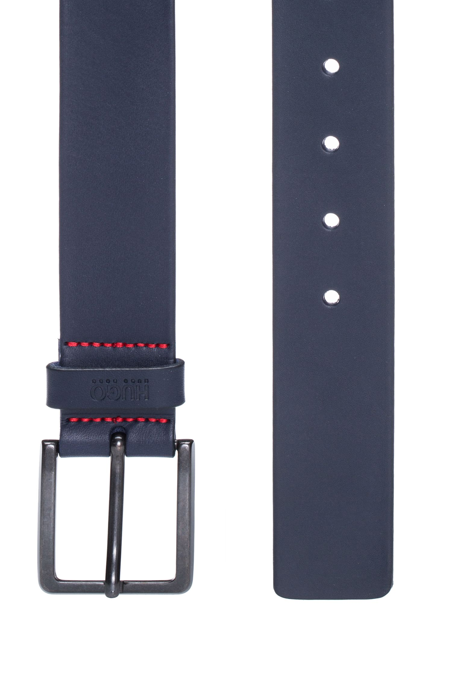 Cinturón de piel con herrajes de metal pesado mate, Azul oscuro