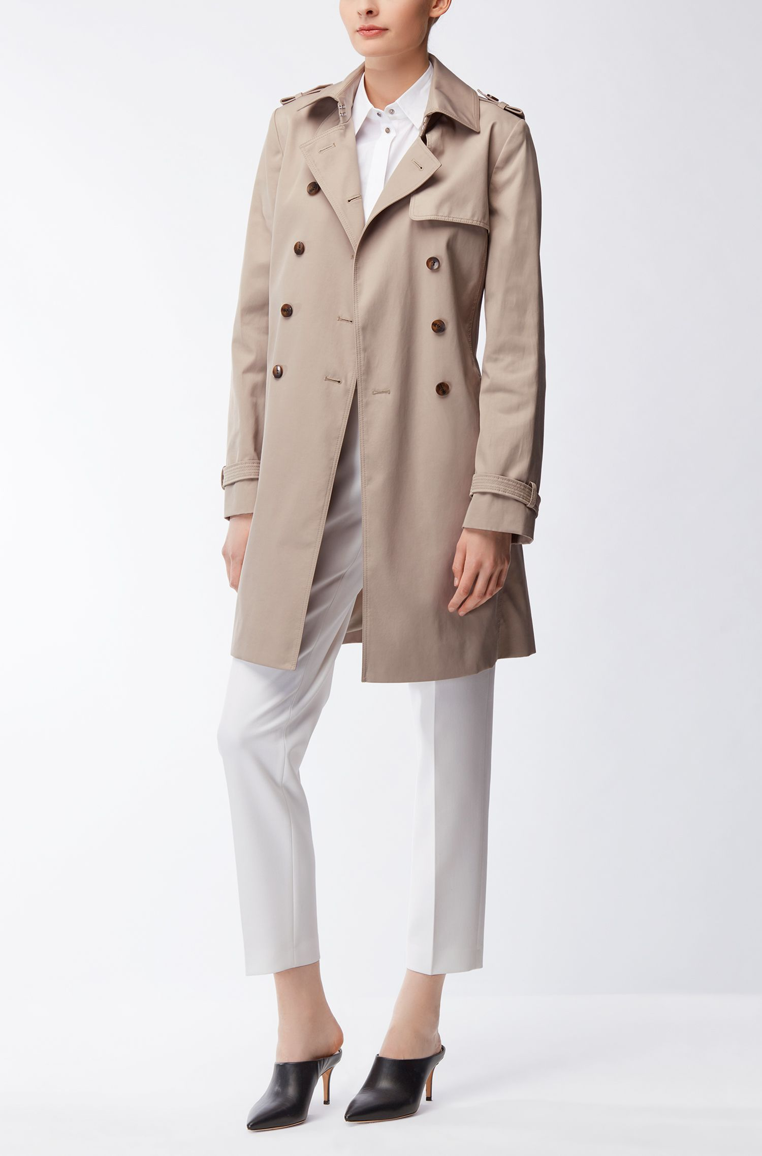 Regular-Fit Trenchcoat aus Baumwoll-Mix