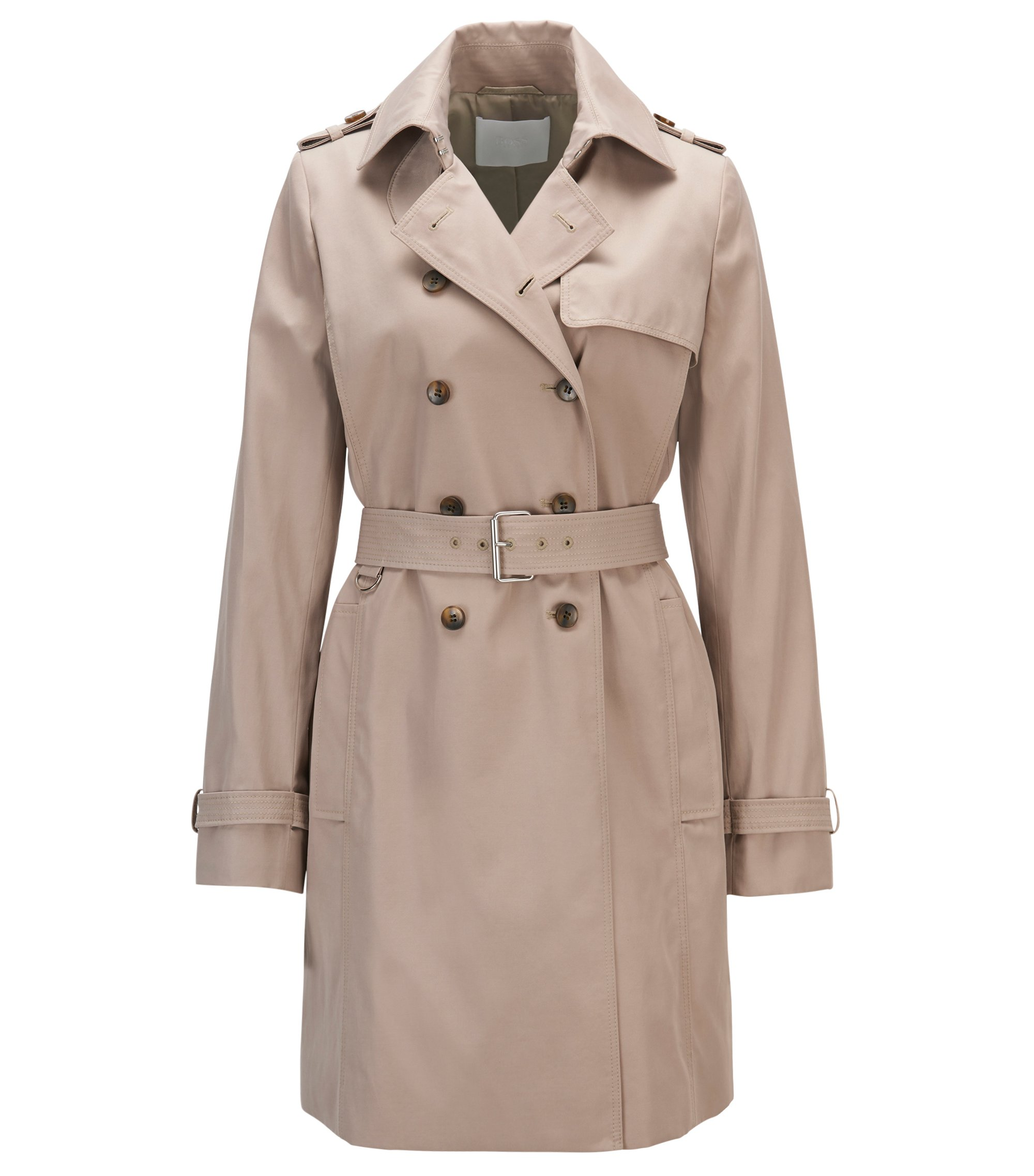 Cotton-blend trench coat in a regular fit, Beige