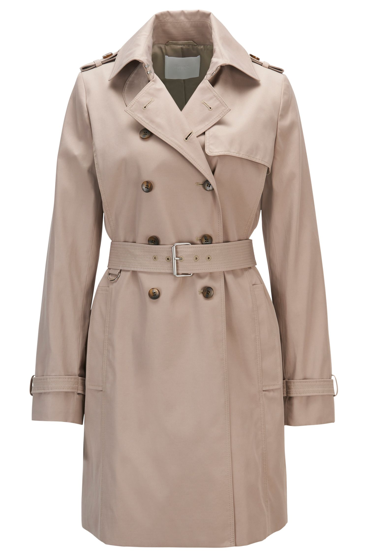 Regular-fit trenchcoat van een katoenmix
