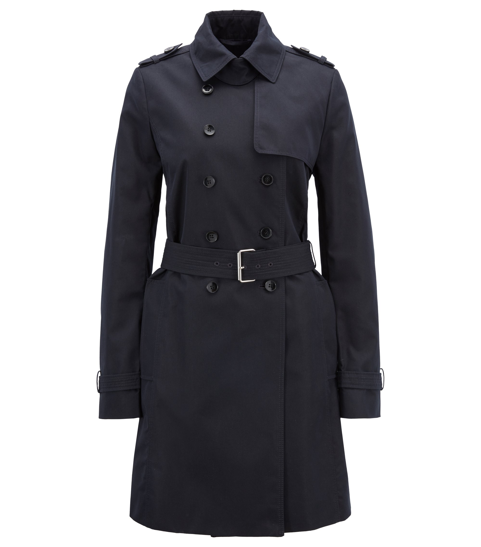 Cotton-blend trench coat in a regular fit, Dark Blue
