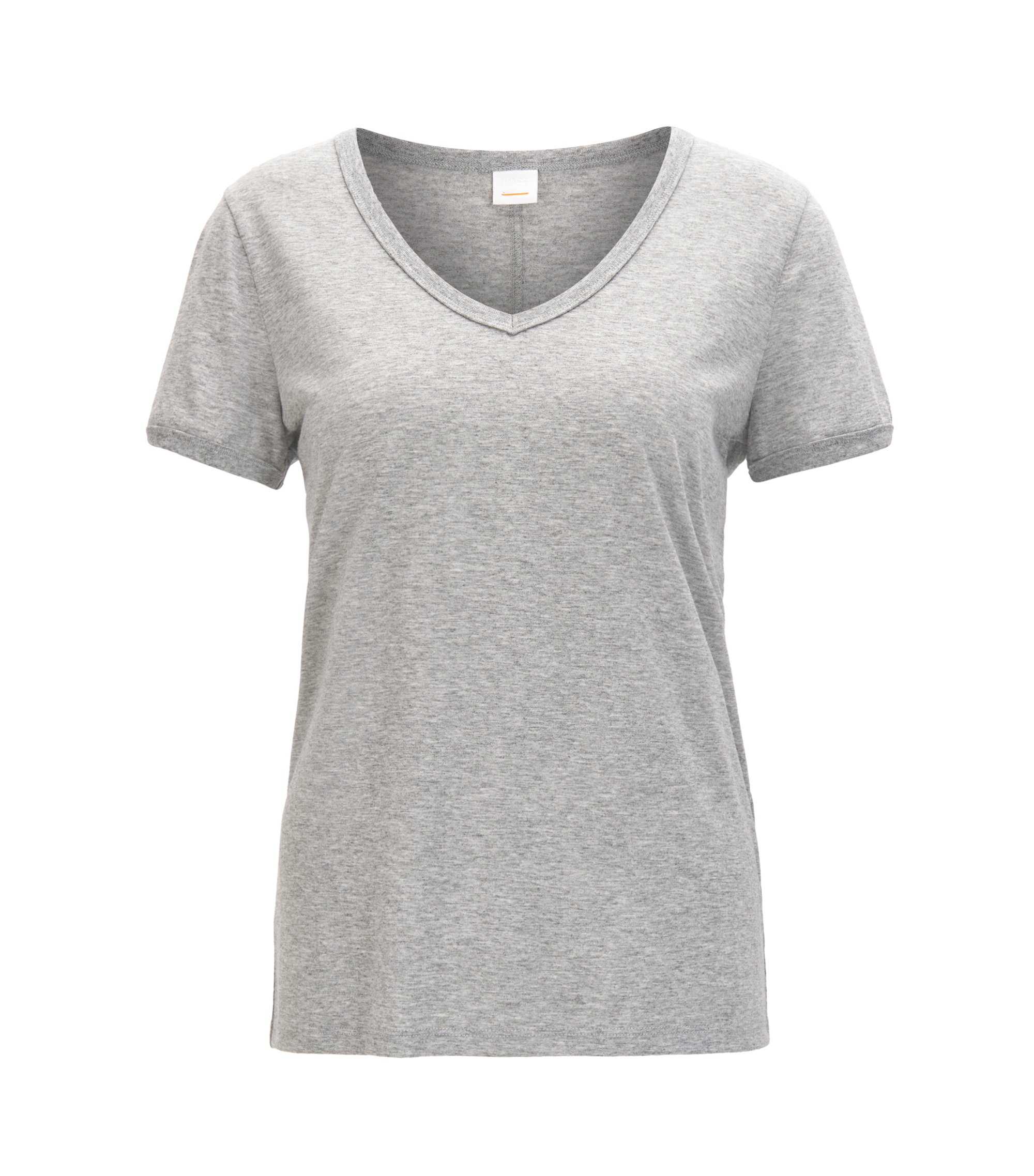 Regular-fit V-neck T-shirt in stretch fabric, Silver