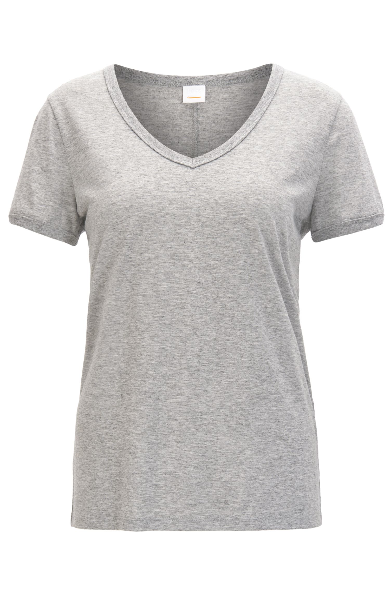 Regular-fit T-shirt van stretchmateriaal met V-hals
