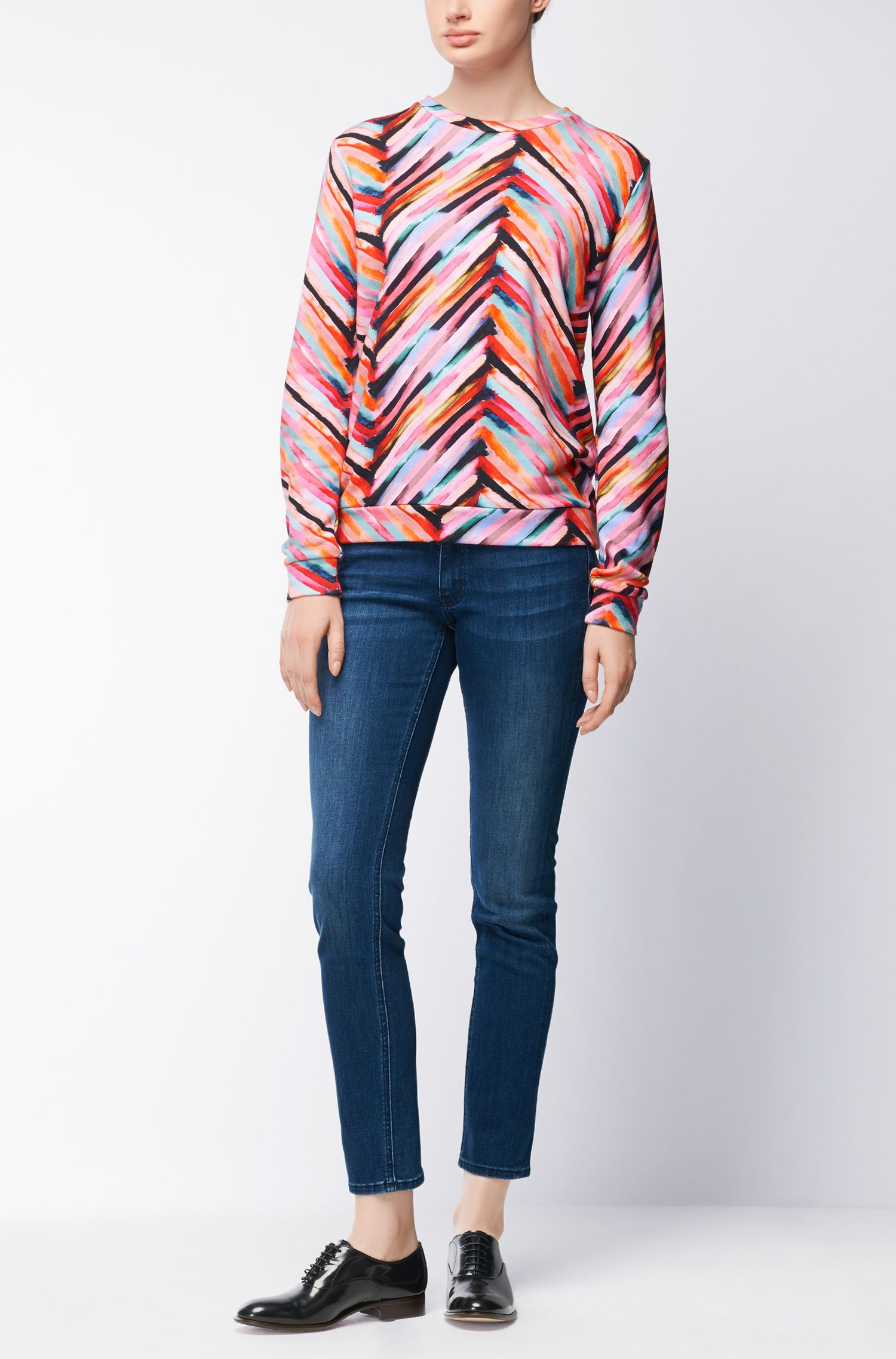 Multi-coloured sweater in terry cotton blend, Patterned