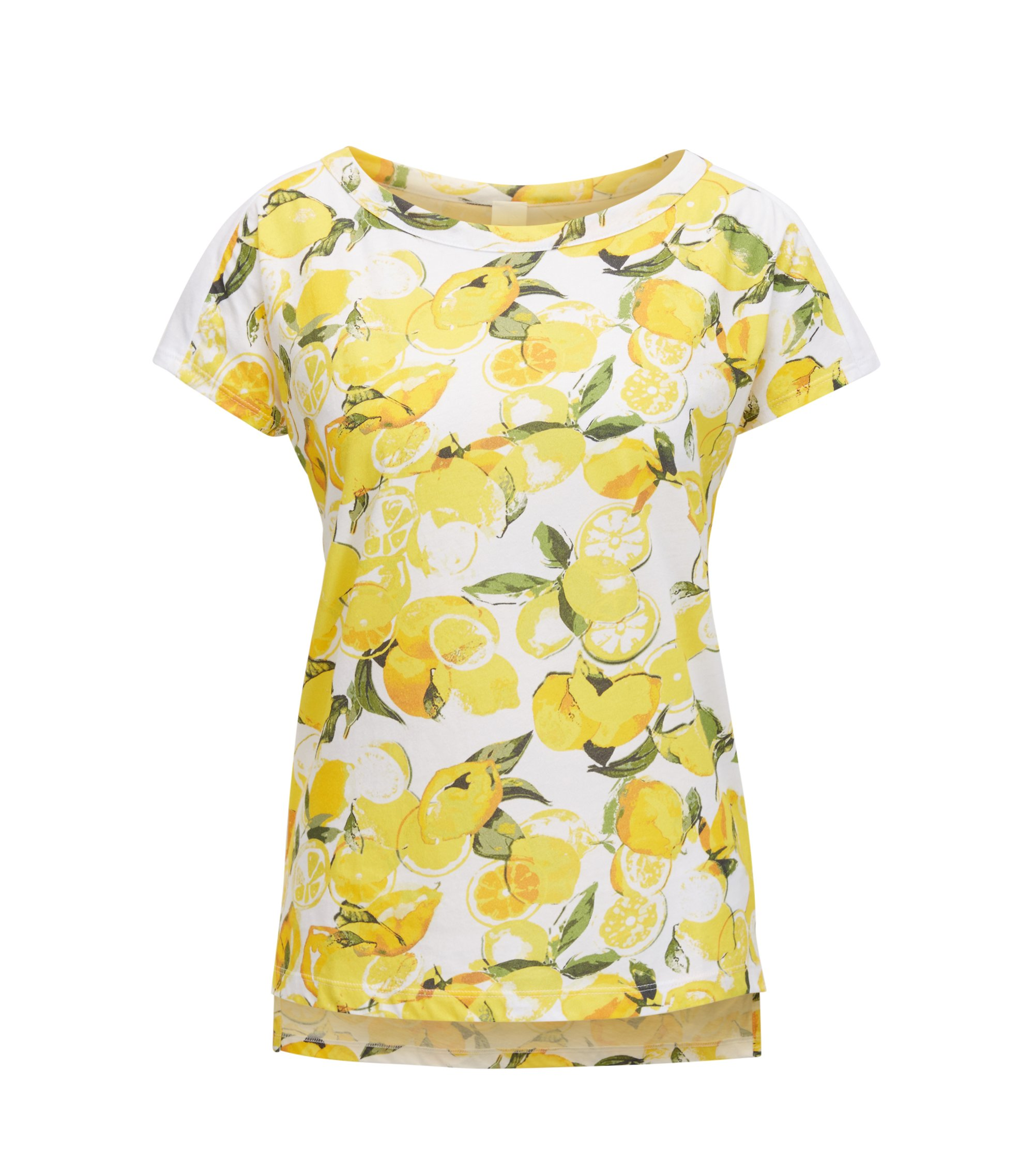 Relaxed-fit cotton T-shirt with lemon print, Patterned