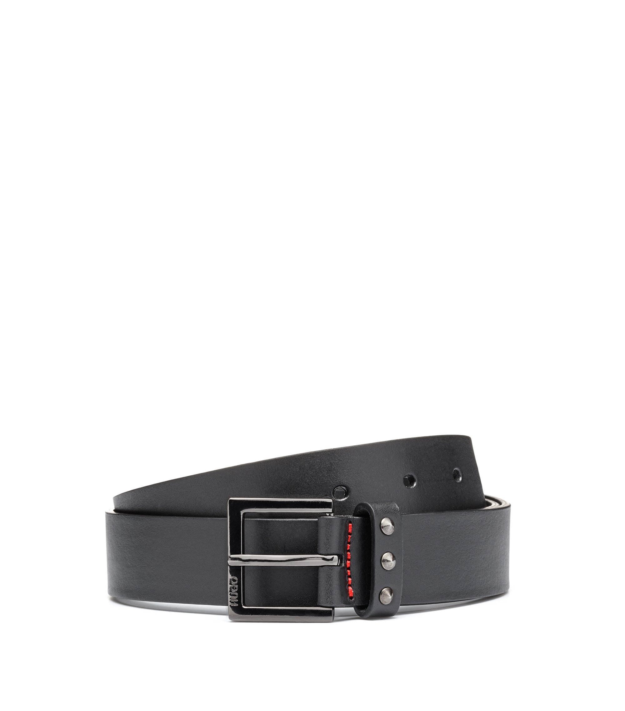 Slim leather belt with stud detailing, Black