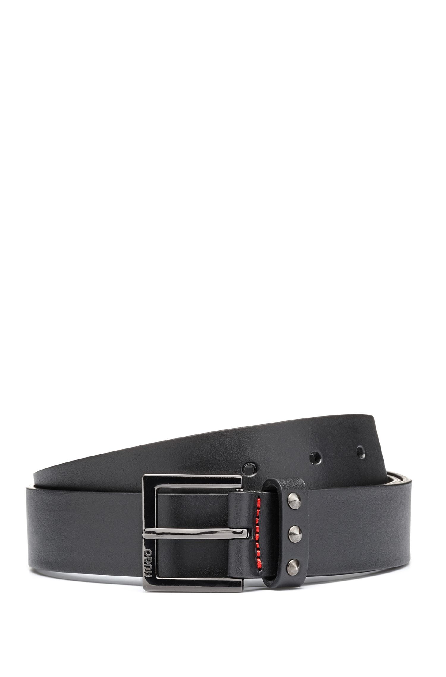 Slim leather belt with stud detailing