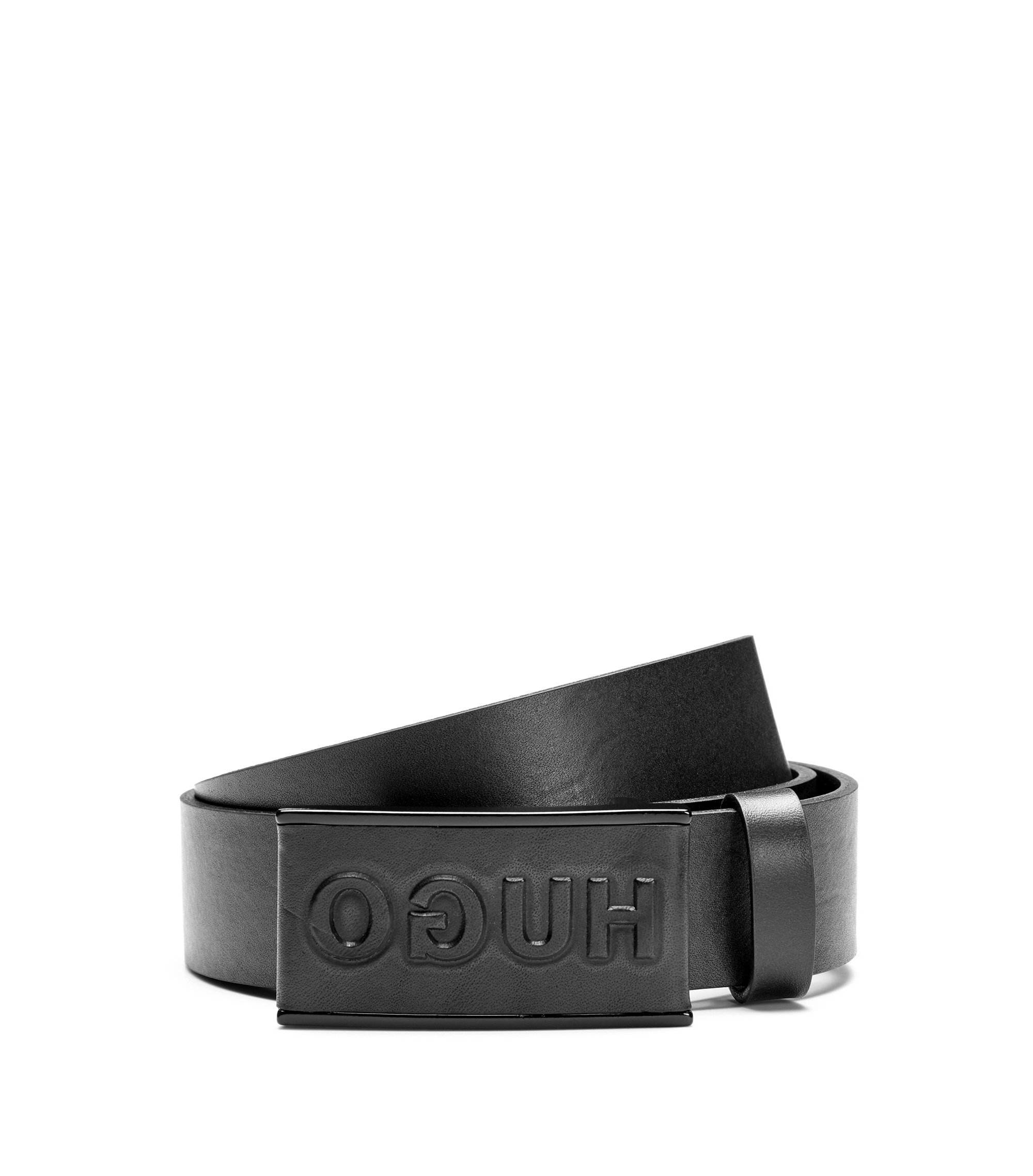 Reverse-logo belt in smooth leather, Black