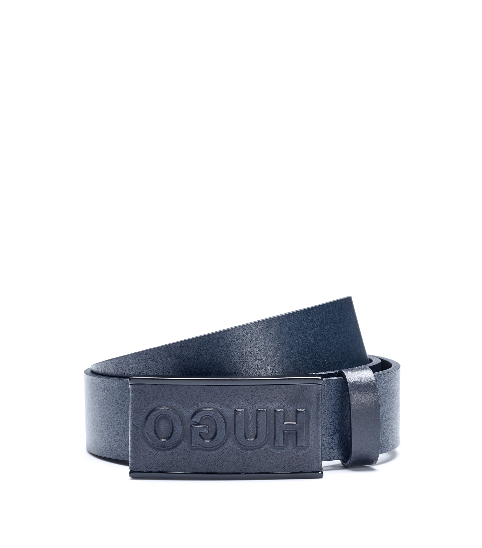 Reverse-logo belt in smooth leather, Dark Blue