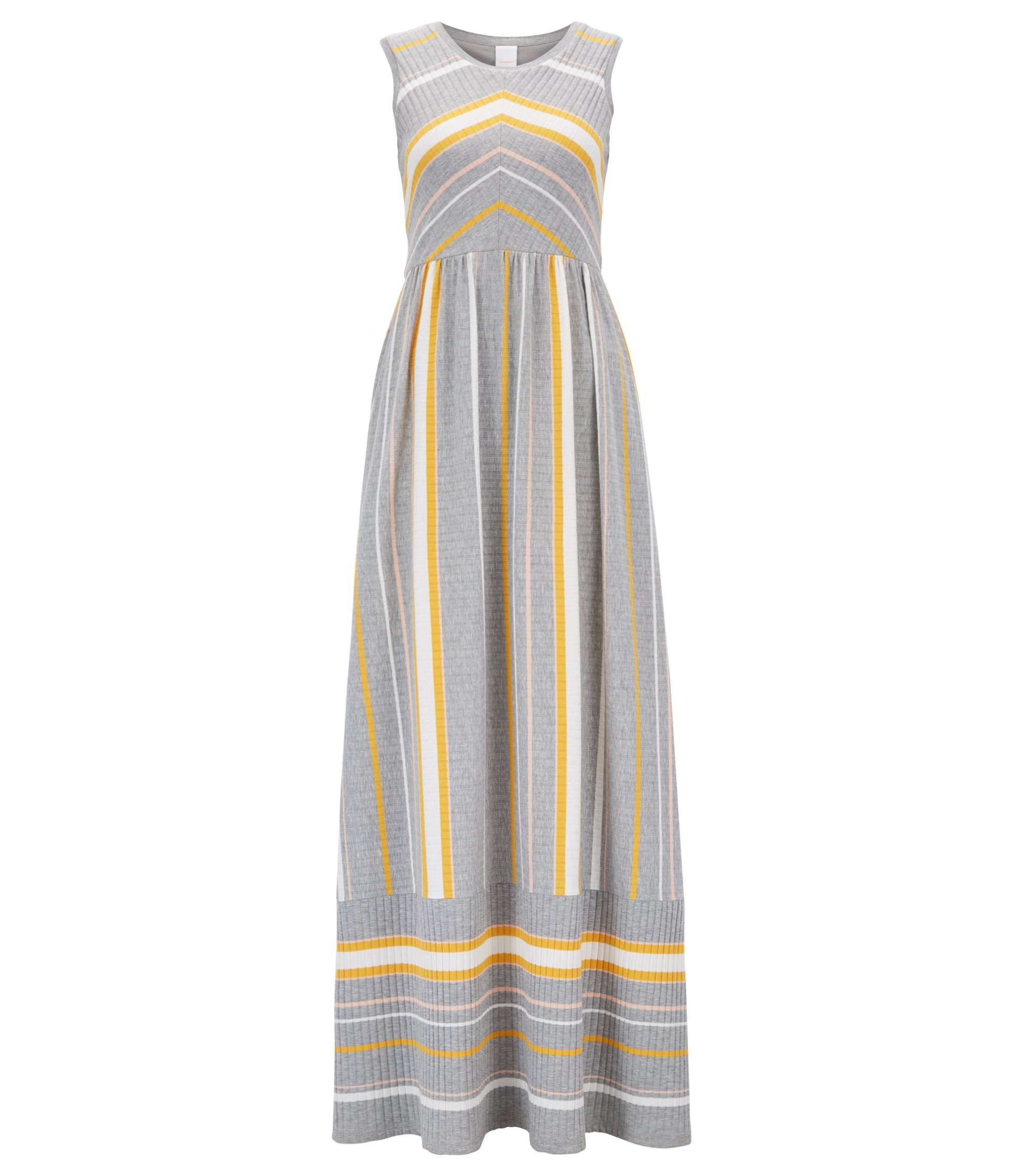 Sleeveless maxi dress with engineered stripe, Argent