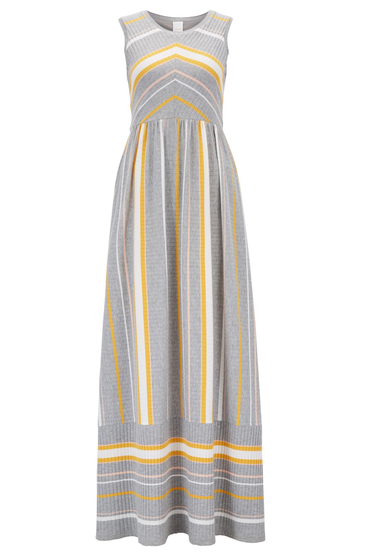 Sleeveless maxi dress with engineered stripe