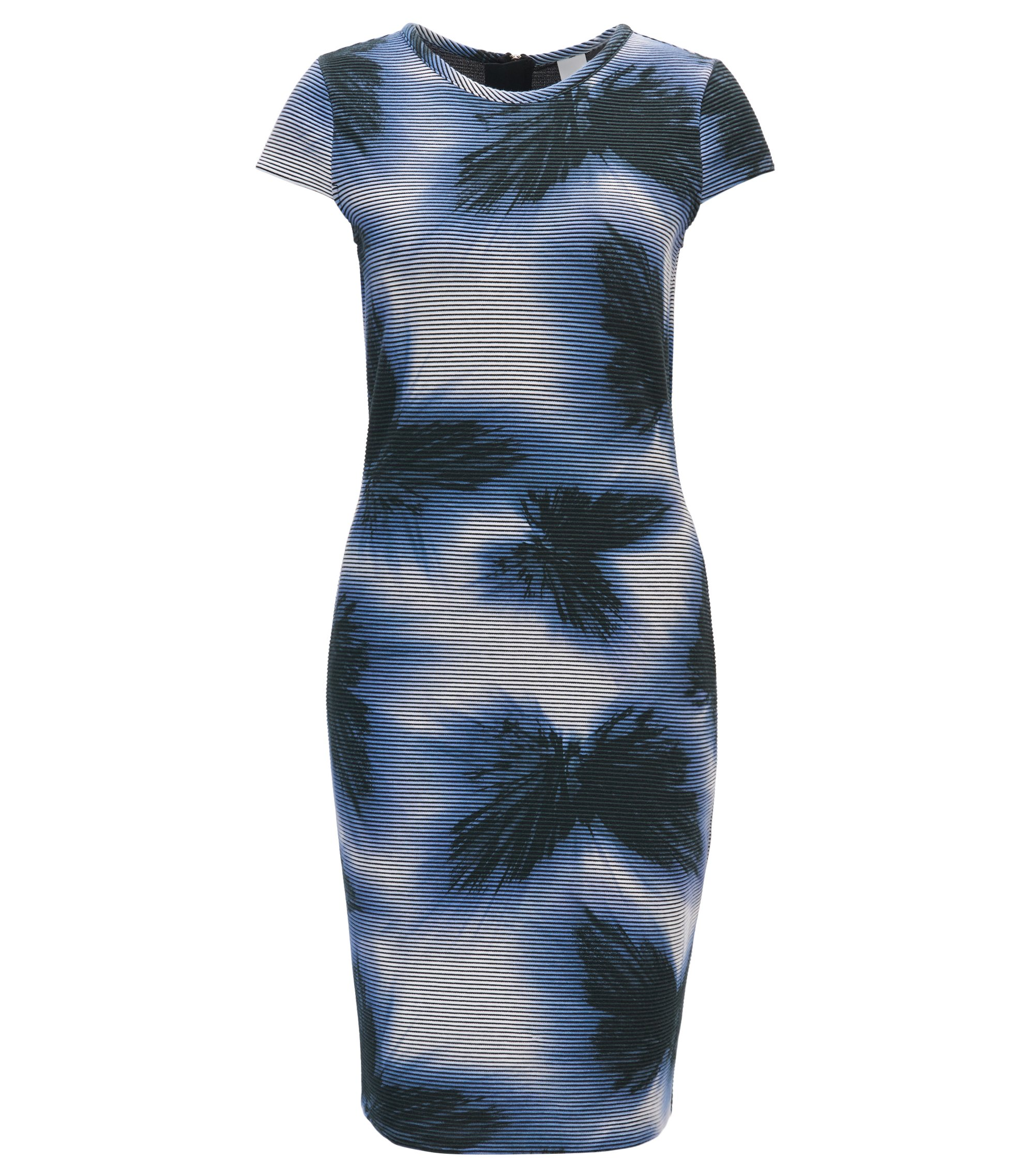 Printed body-con dress with cap sleeves, Patterned