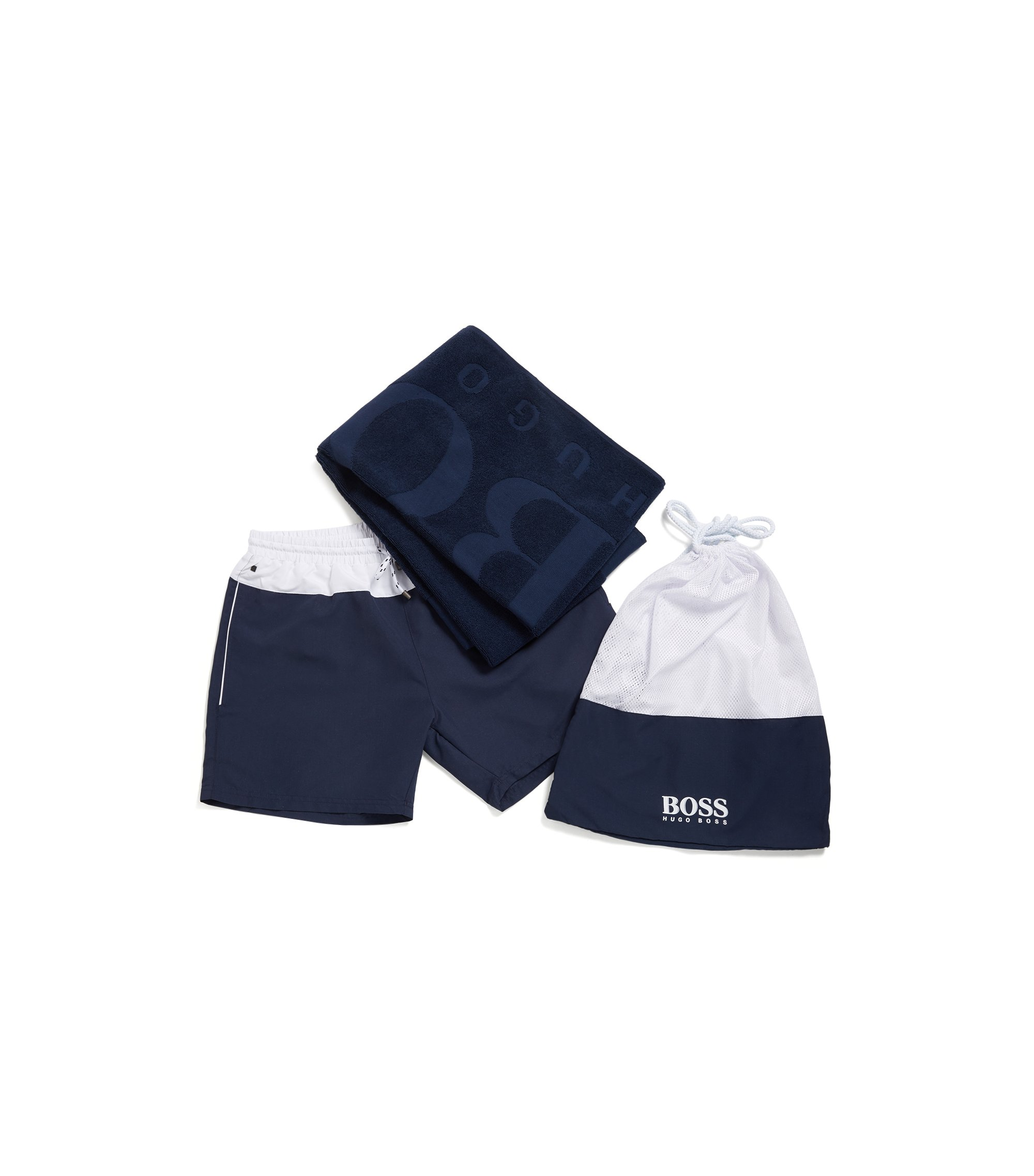 Three-piece beach set with logo detailing, Open Blue