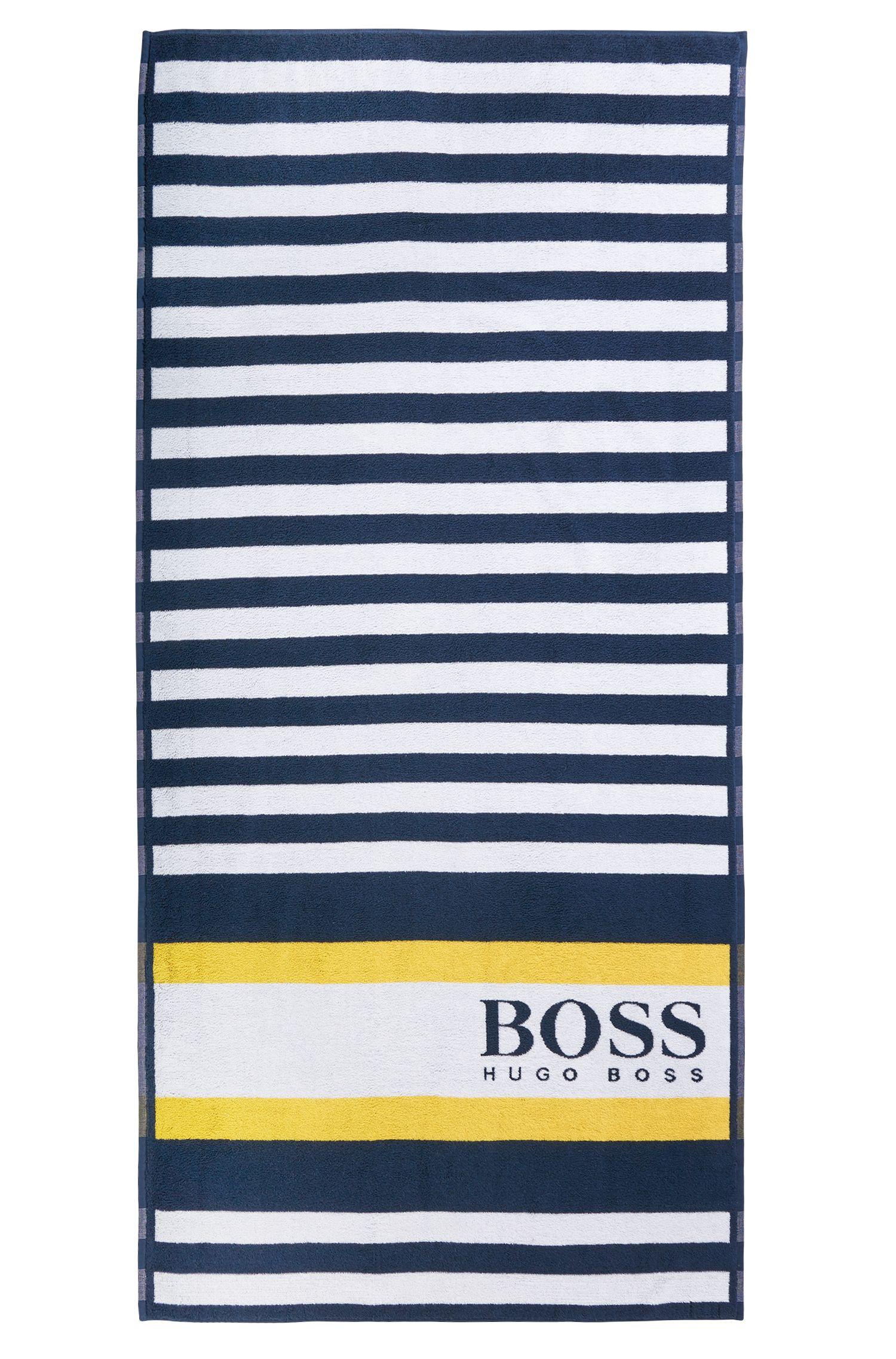 Striped beach towel in cotton jacquard