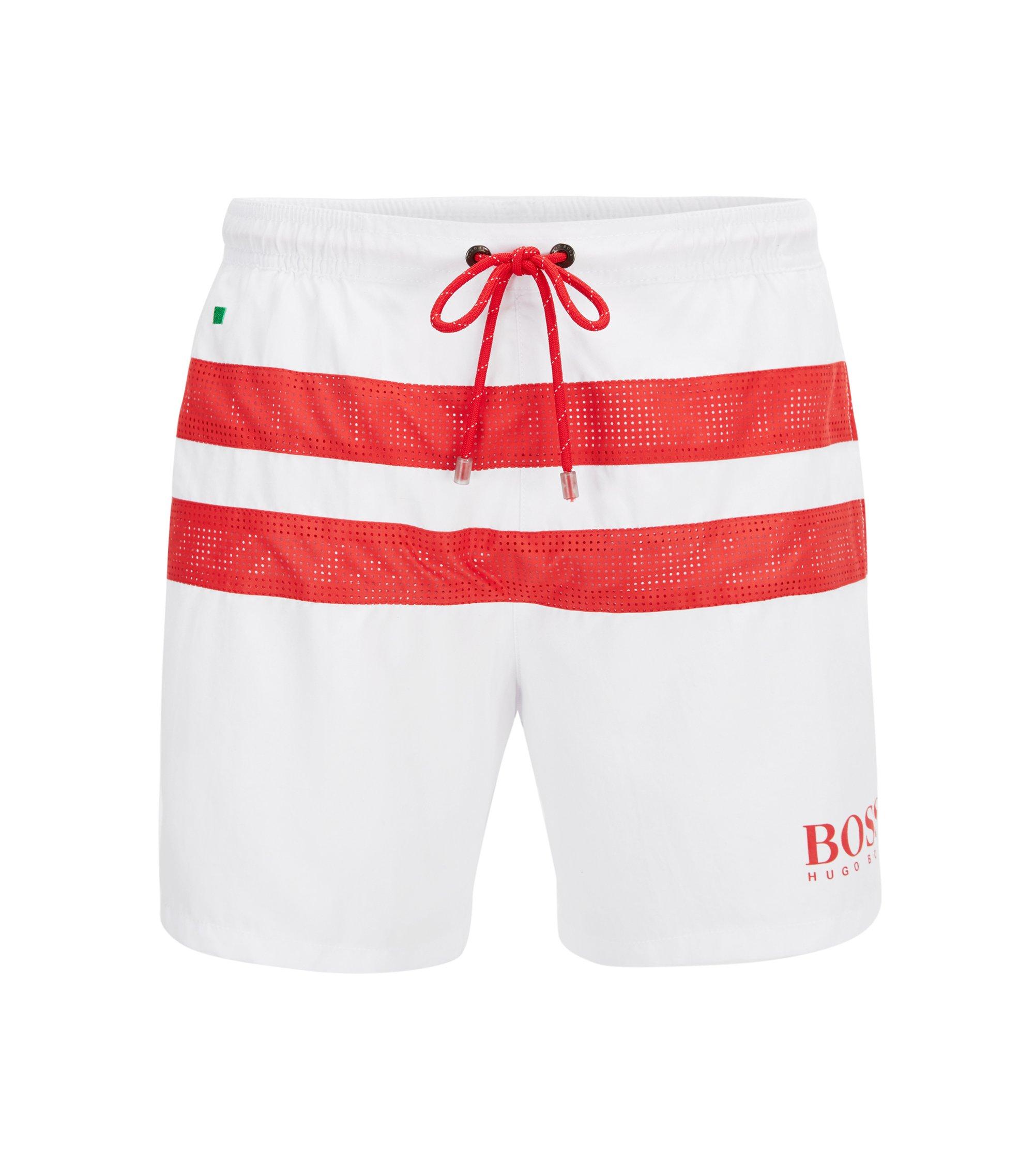 Flag-detail lightweight swim shorts, Natural