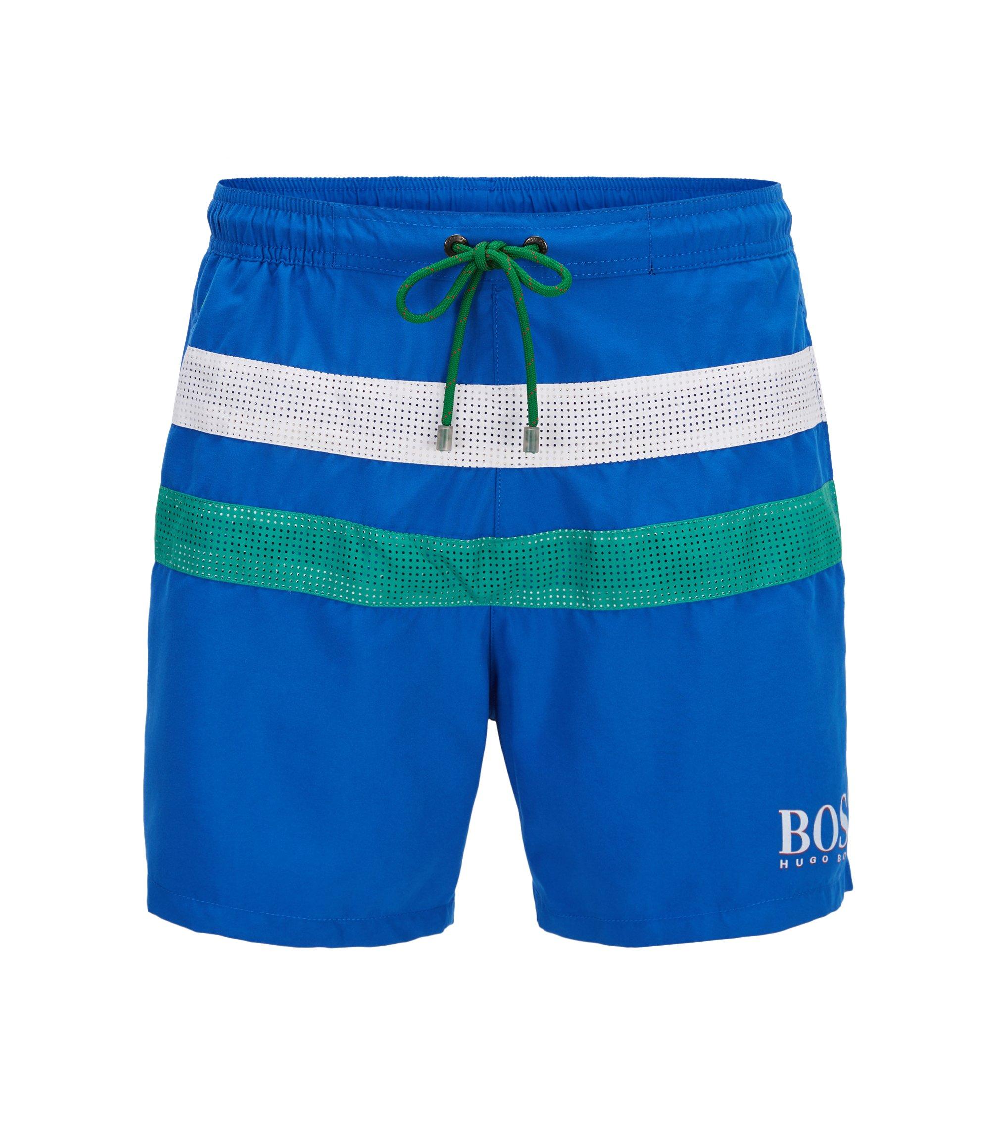 Bañador tipo shorts ligero con detalle de bandera, Azul