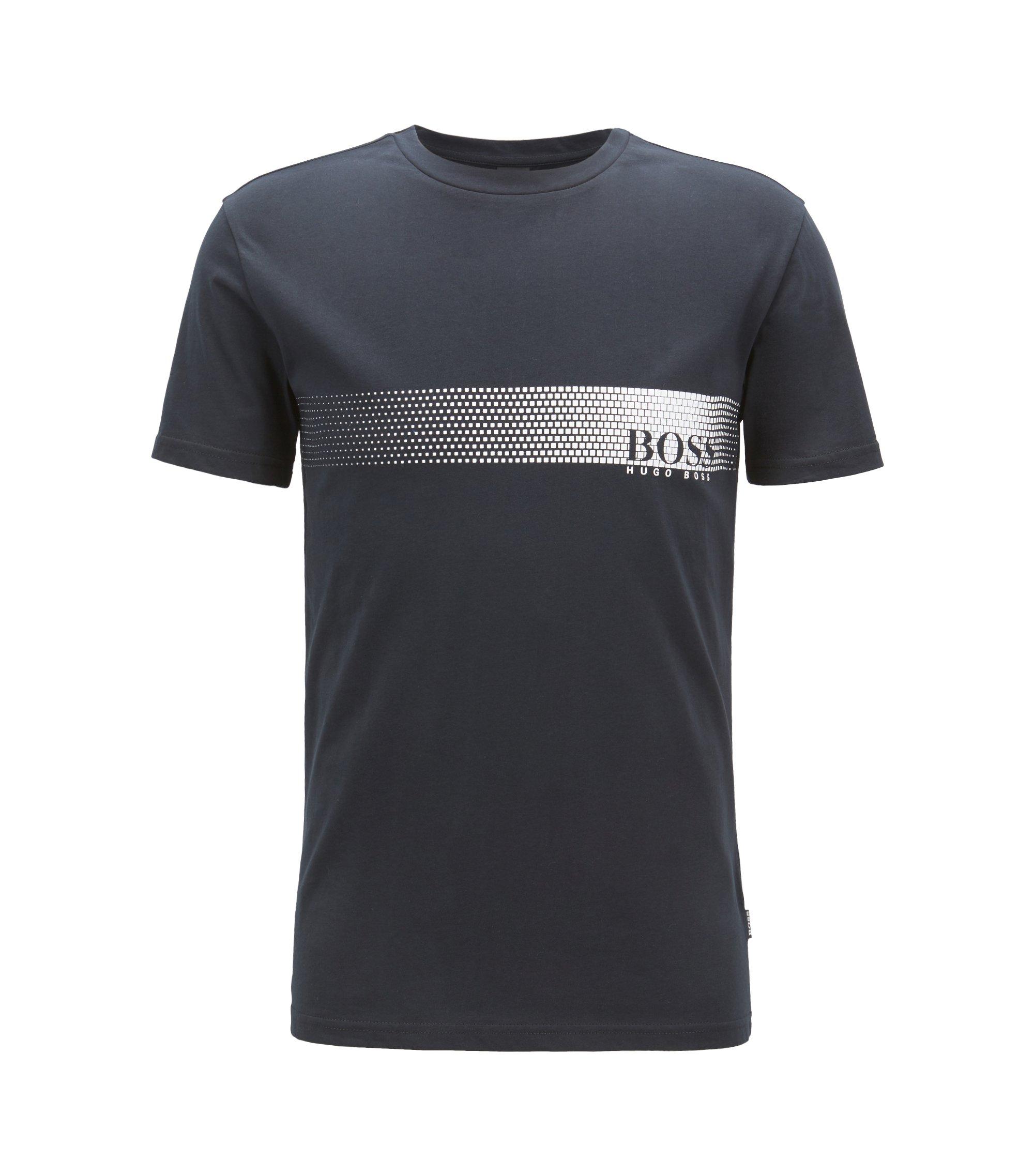 T-shirt anti-UV in cotone con logo, Nero