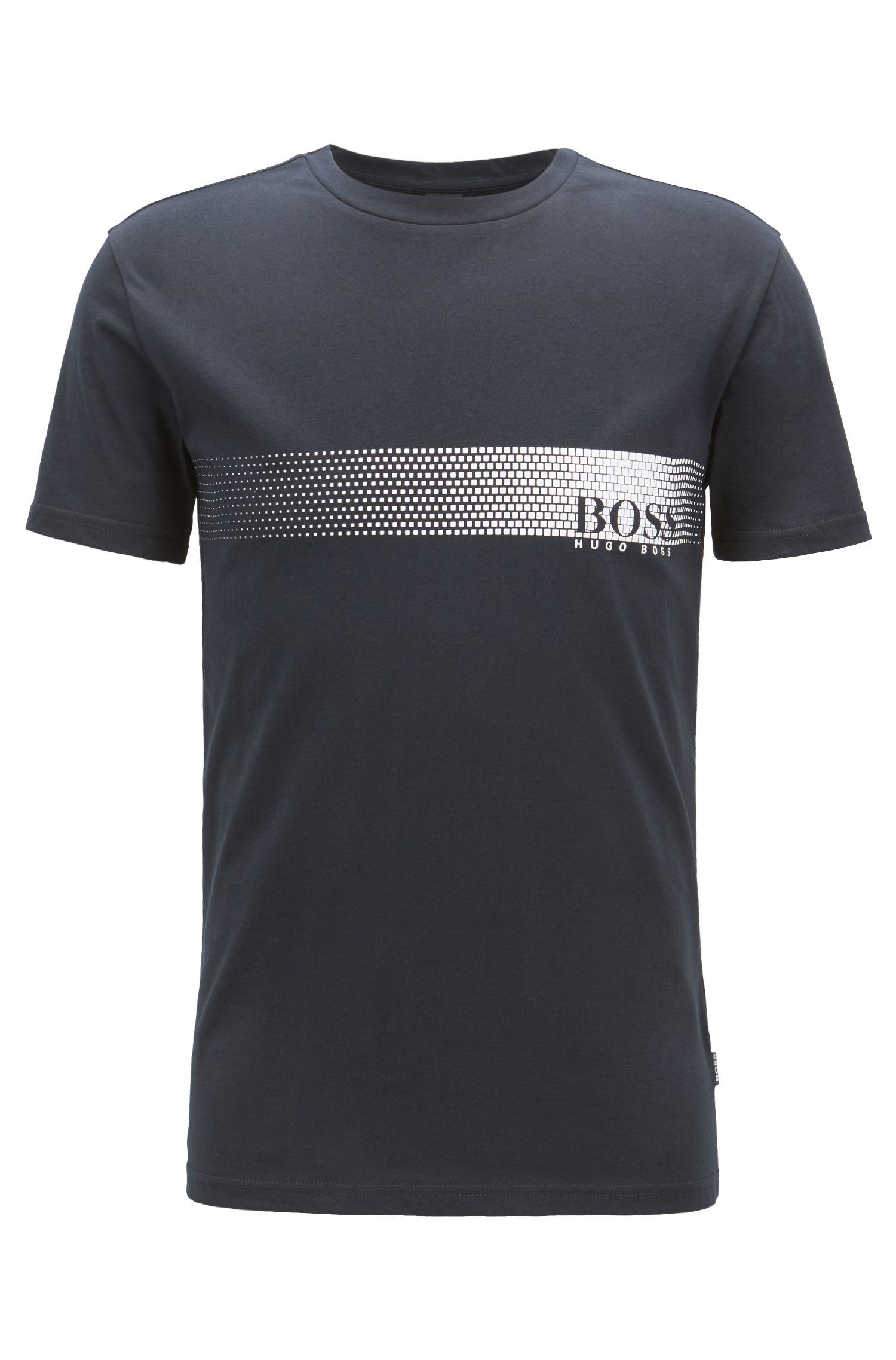 T-Shirt aus Baumwolle mit Logo-Print und Sonnenschutz, Schwarz