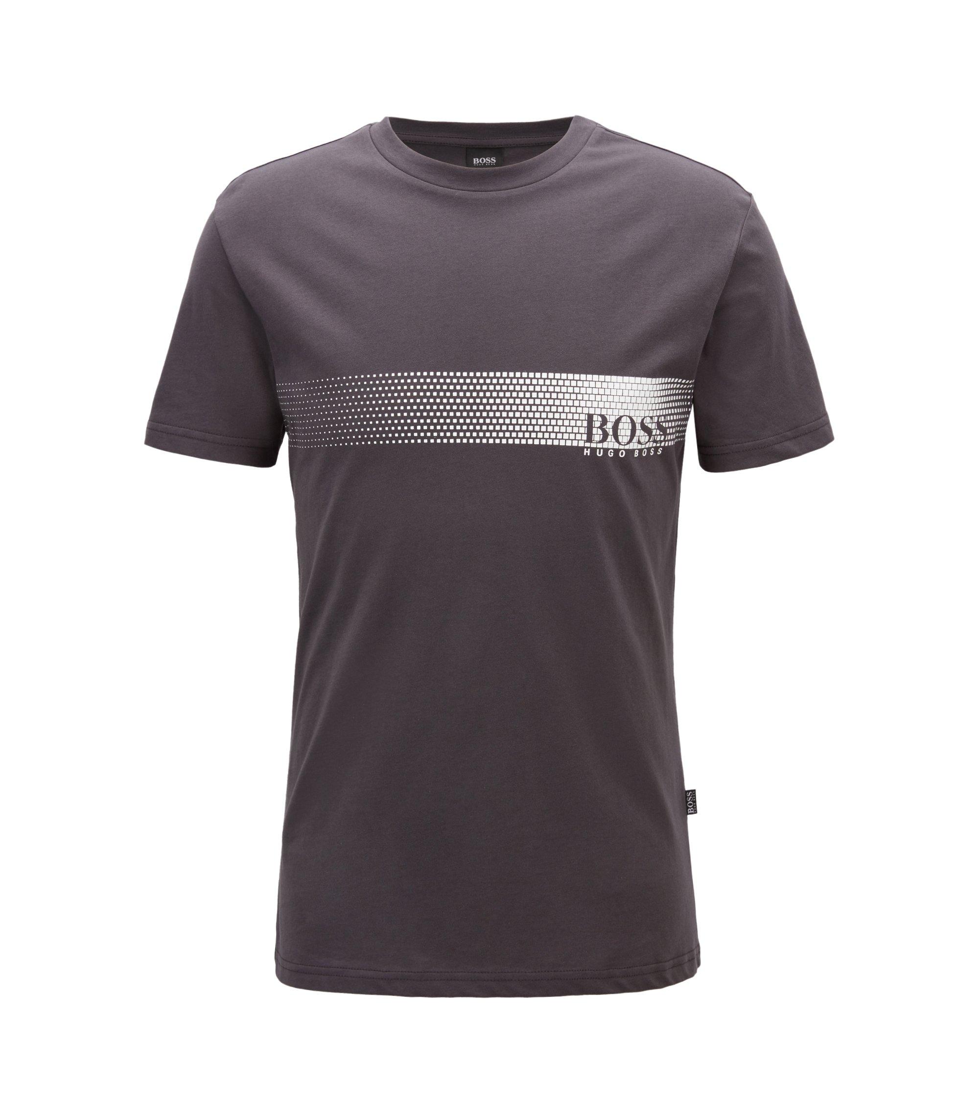 T-Shirt aus Baumwolle mit Logo-Print und Sonnenschutz, Anthrazit