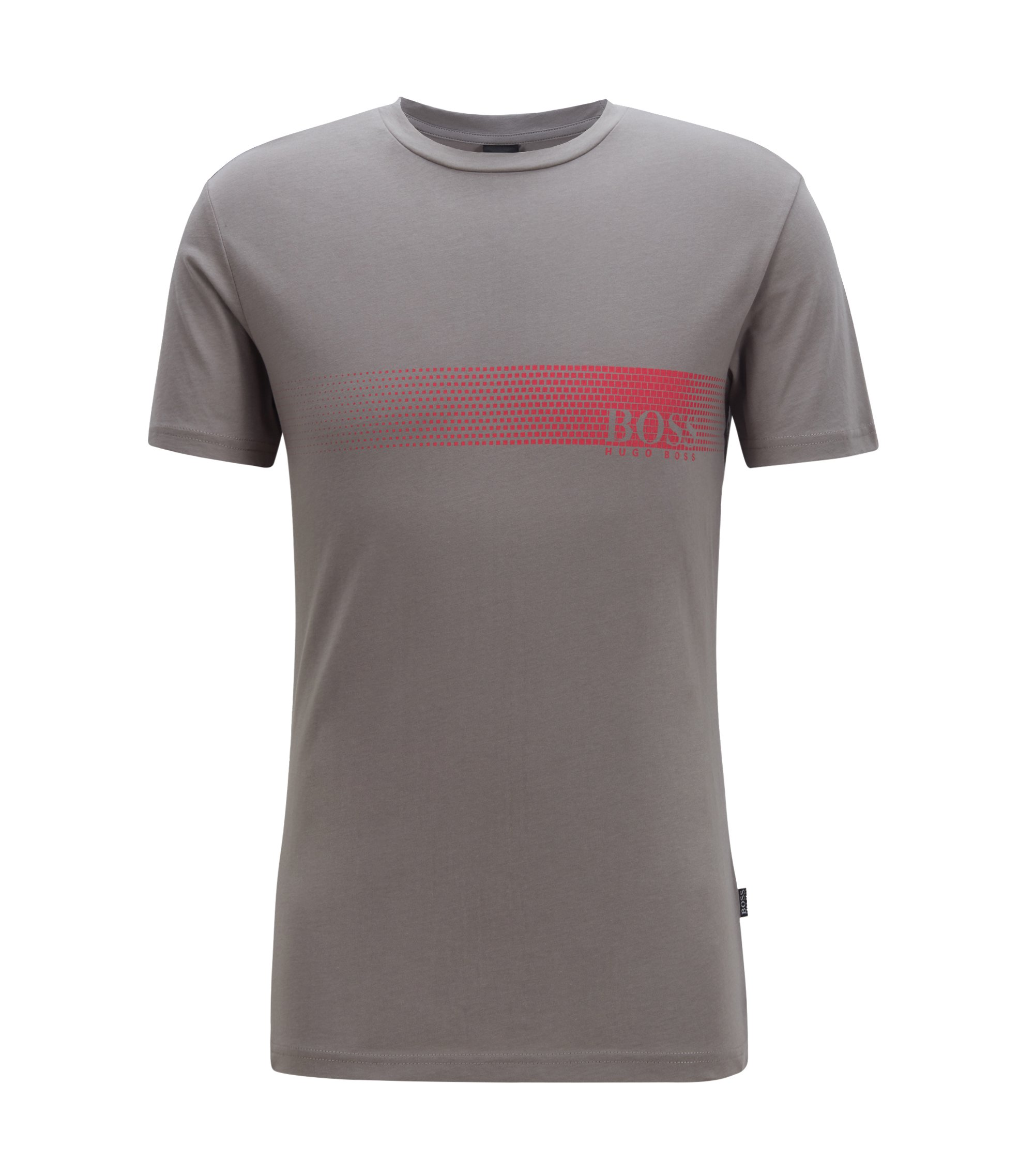 Camiseta con logo en algodón con protección solar, Gris oscuro