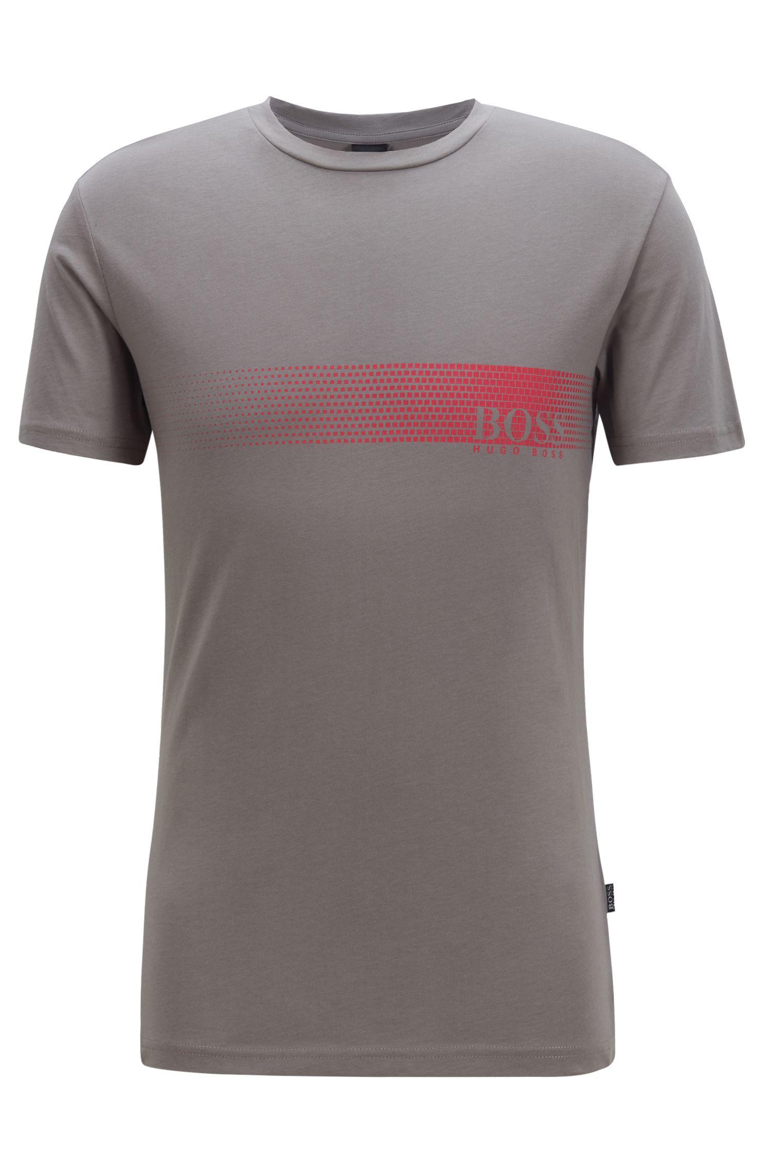 T-Shirt aus Baumwolle mit Logo-Print und Sonnenschutz, Dunkelgrau