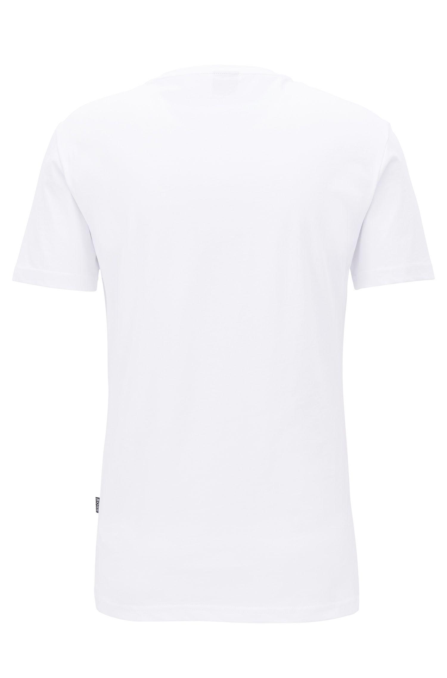T-Shirt aus Baumwolle mit Logo-Print und Sonnenschutz, Natur