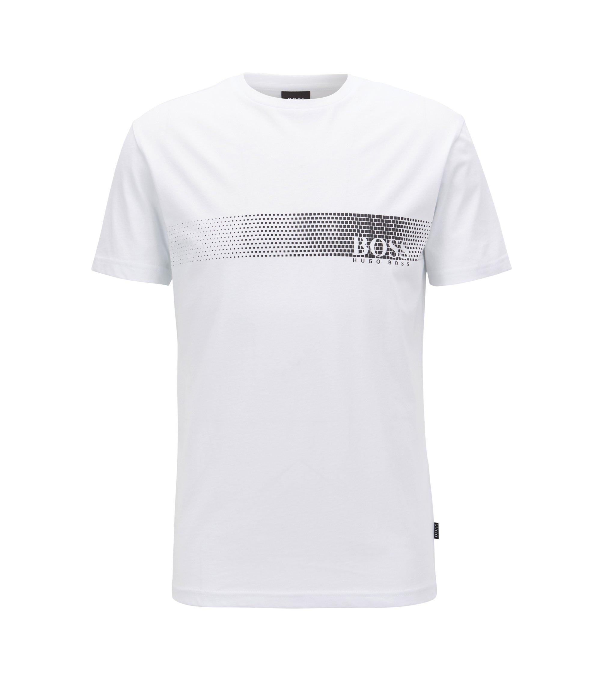 T-Shirt aus Baumwolle mit Logo-Print und Sonnenschutz, Weiß
