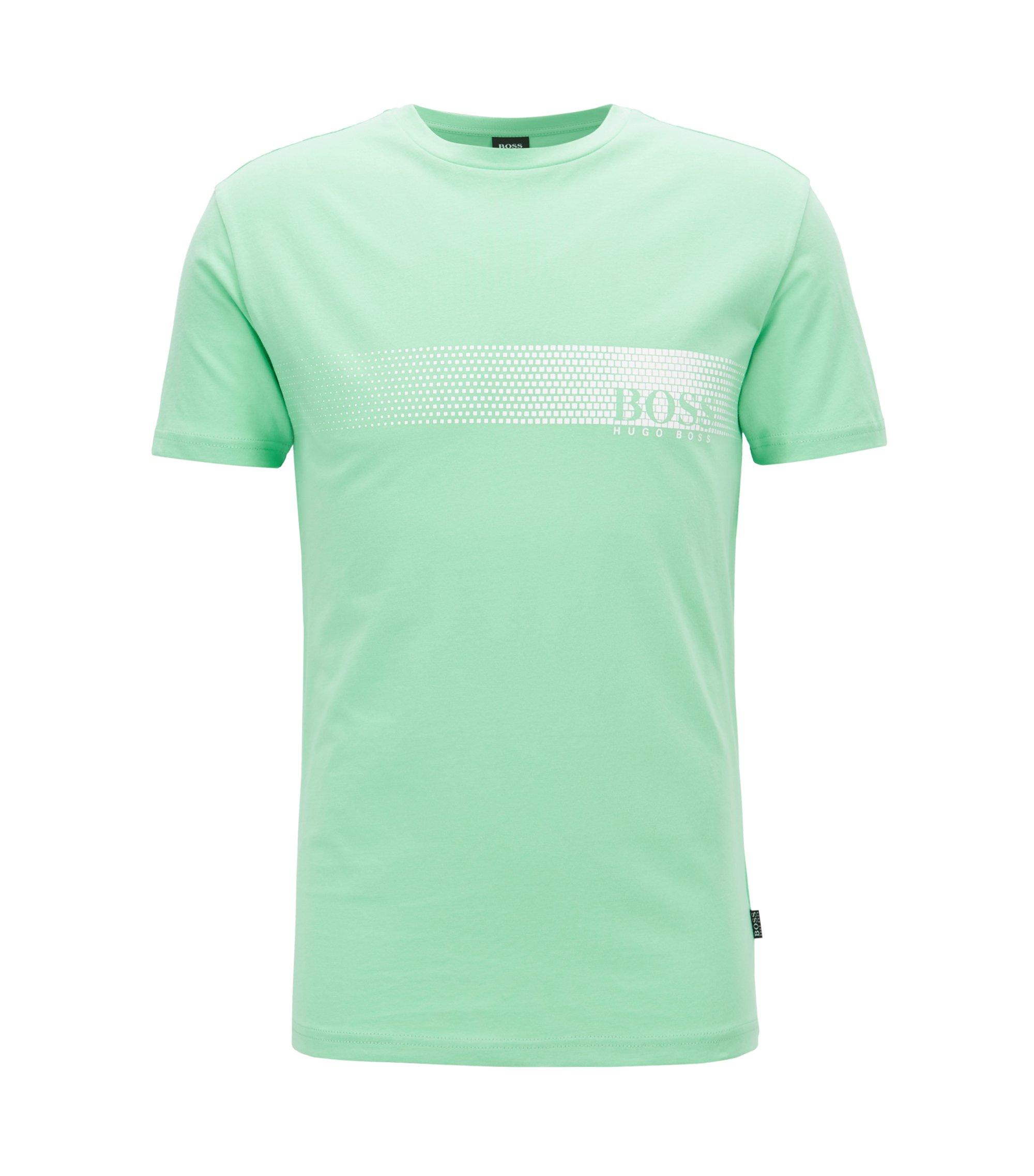 T-Shirt aus Baumwolle mit Logo-Print und Sonnenschutz, Hellgrün