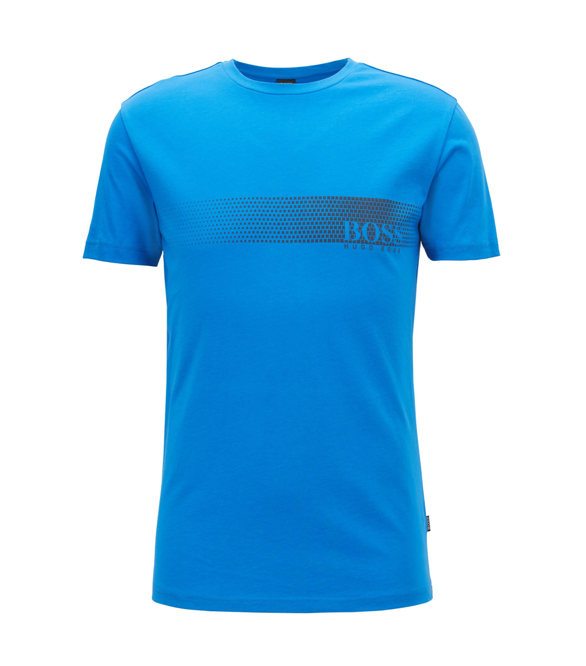 T-shirt anti-UV in cotone con logo, Blu