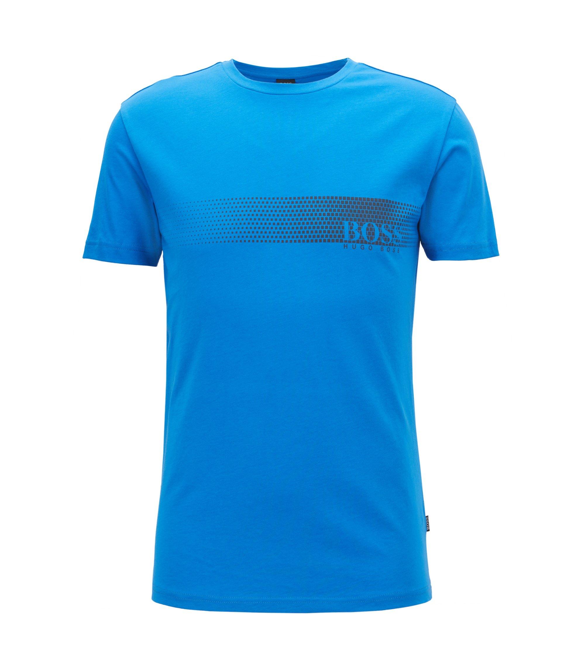 T-Shirt aus Baumwolle mit Logo-Print und Sonnenschutz, Blau
