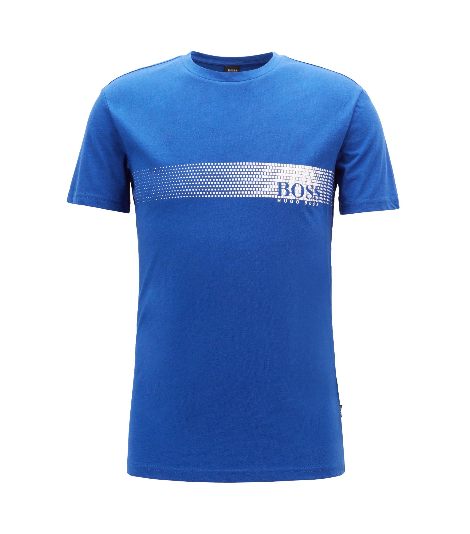 Camiseta con logo en algodón con protección solar, Azul