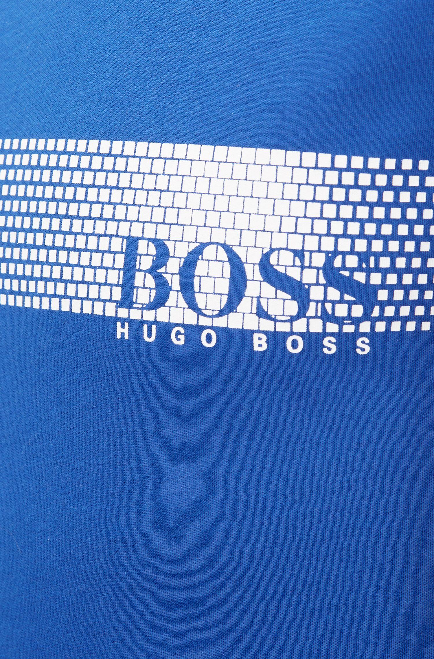 Logo-T-shirt van katoen met zonbescherming, Blauw