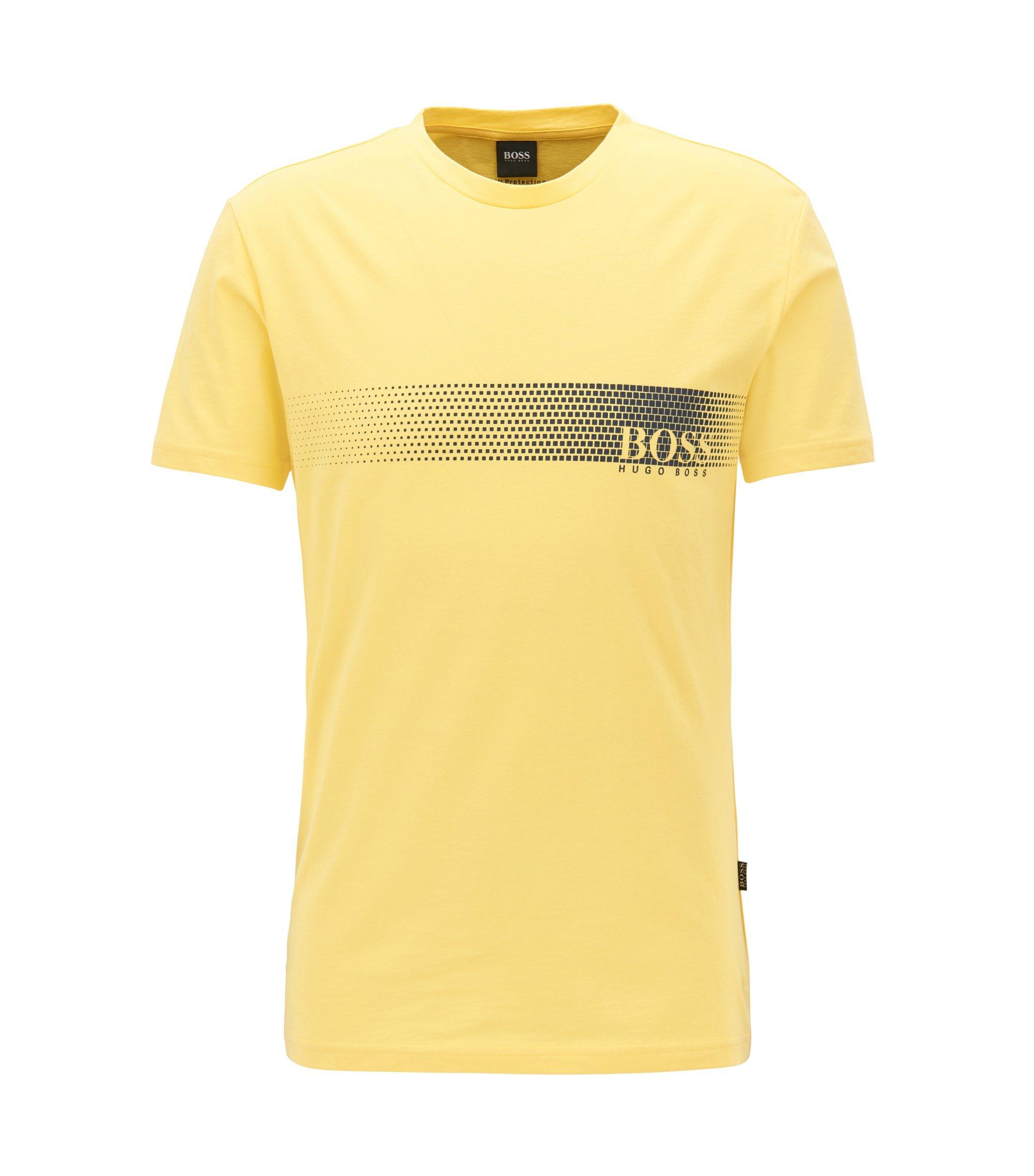 Logo-T-shirt van katoen met zonbescherming, Geel